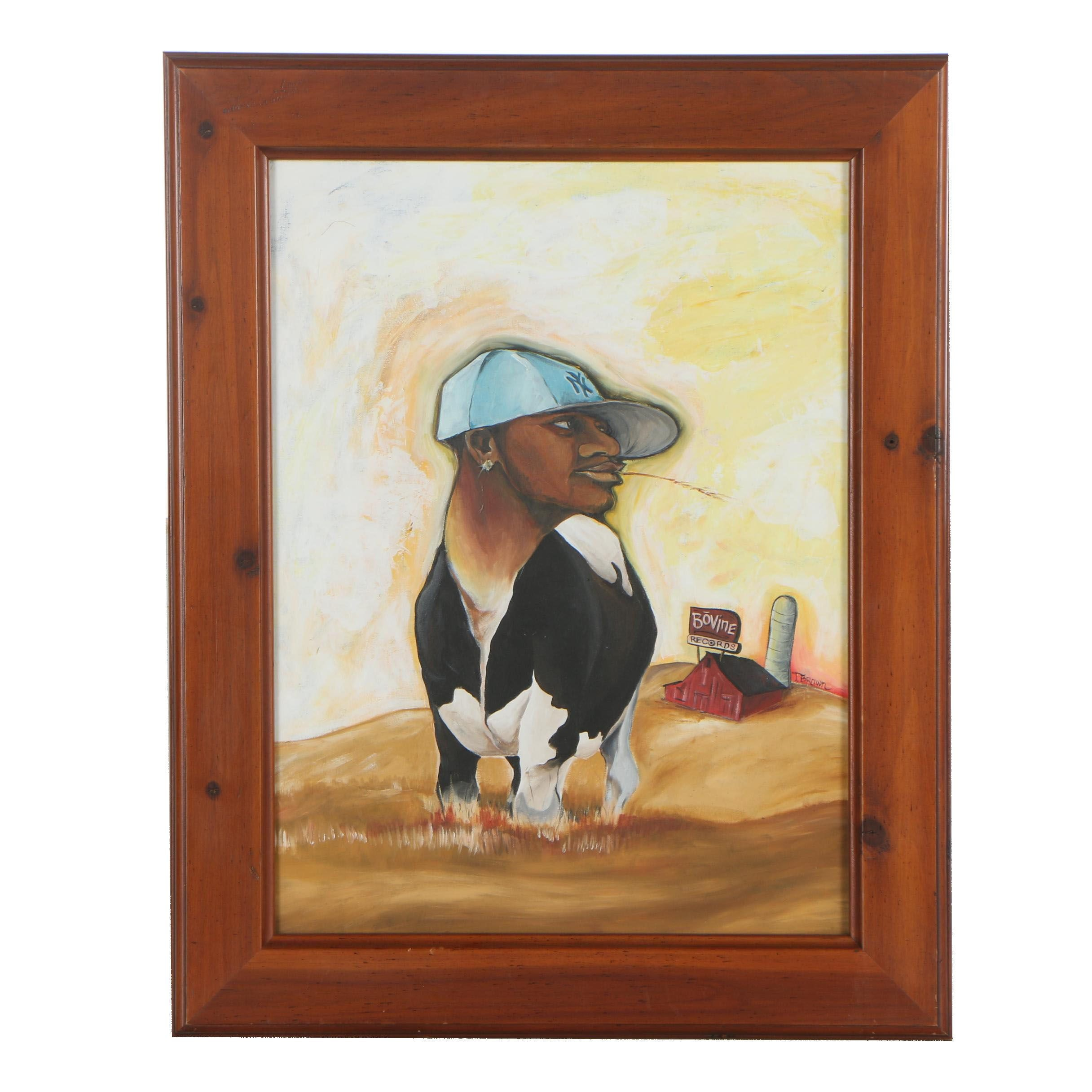 "Troy Brown Acrylic Painting ""Bovine Dreams"""