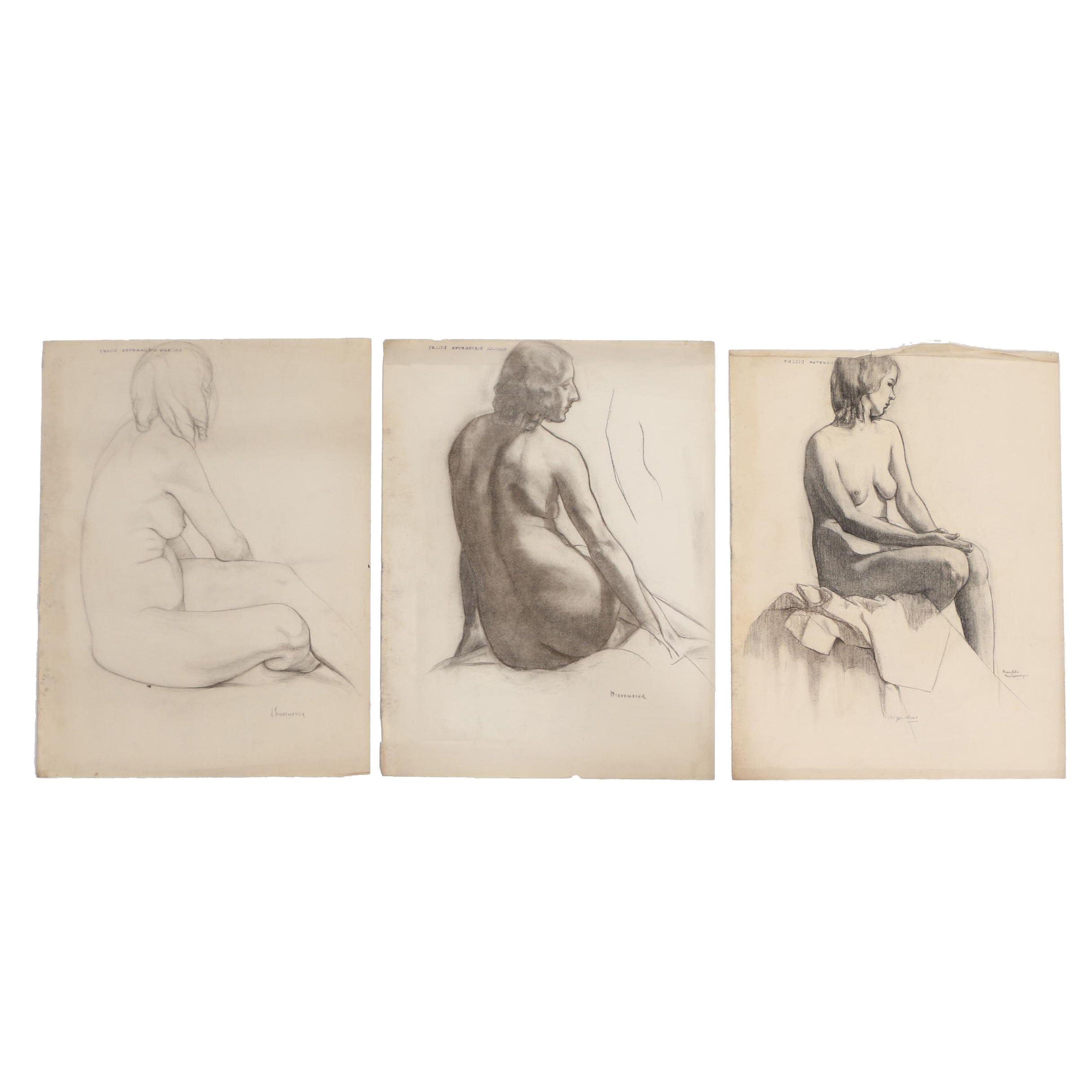 Romilda Birkemeyer Dilley Charcoal Drawings of Figural Studies