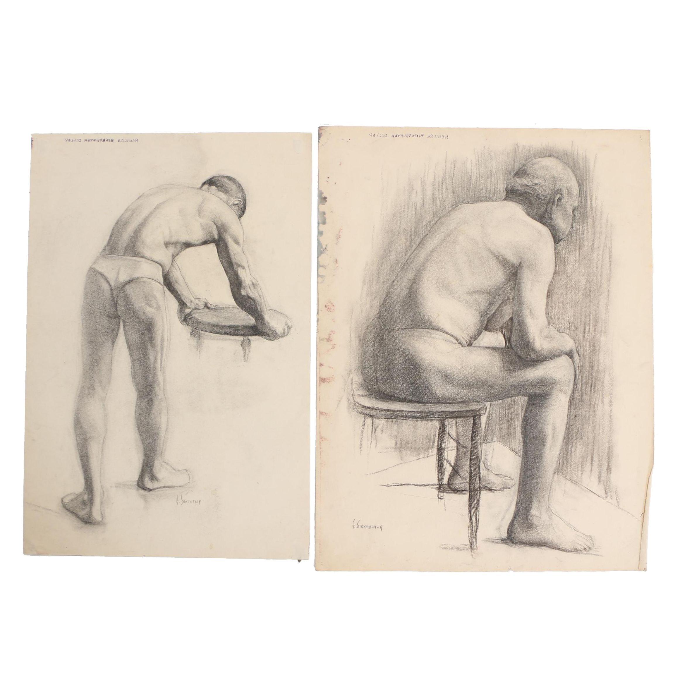 Romilda Birkemeyer Dilley Charcoal Drawings of Male Figural Studies