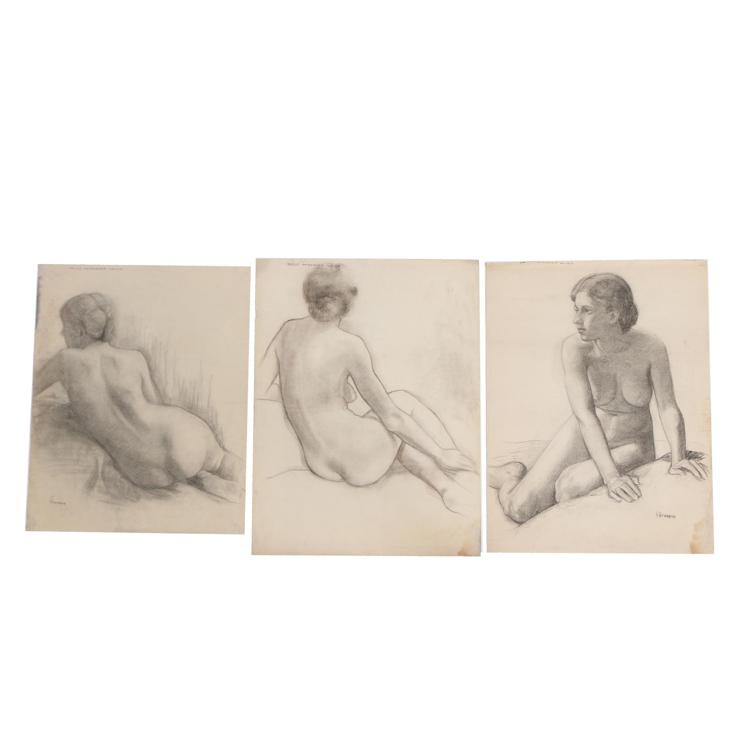 Romilda Birkemeyer Dilley Charcoal Drawings of Female Nudes