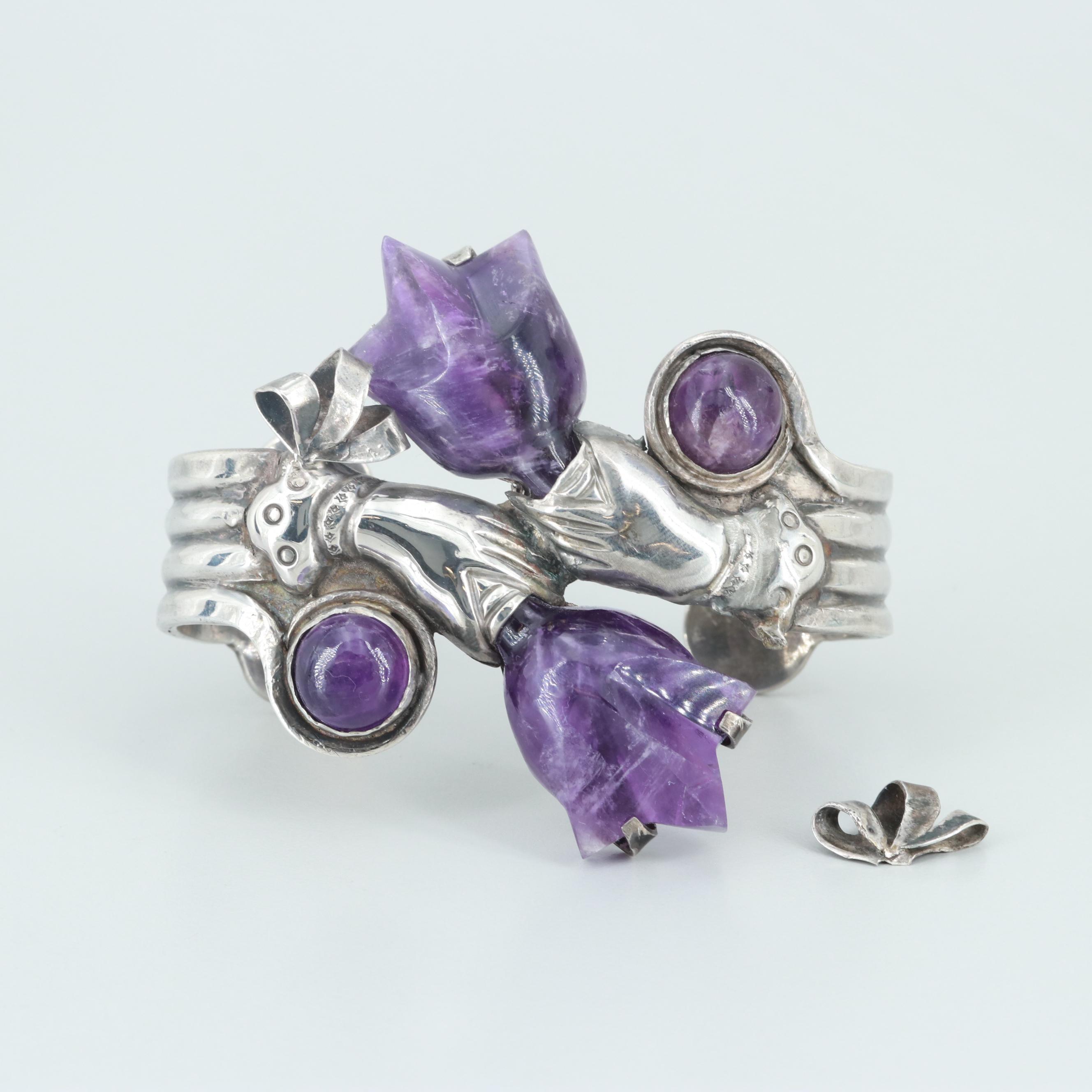 Circa 1940s Mexican Sterling Silver Amethyst Cuff Bracelet
