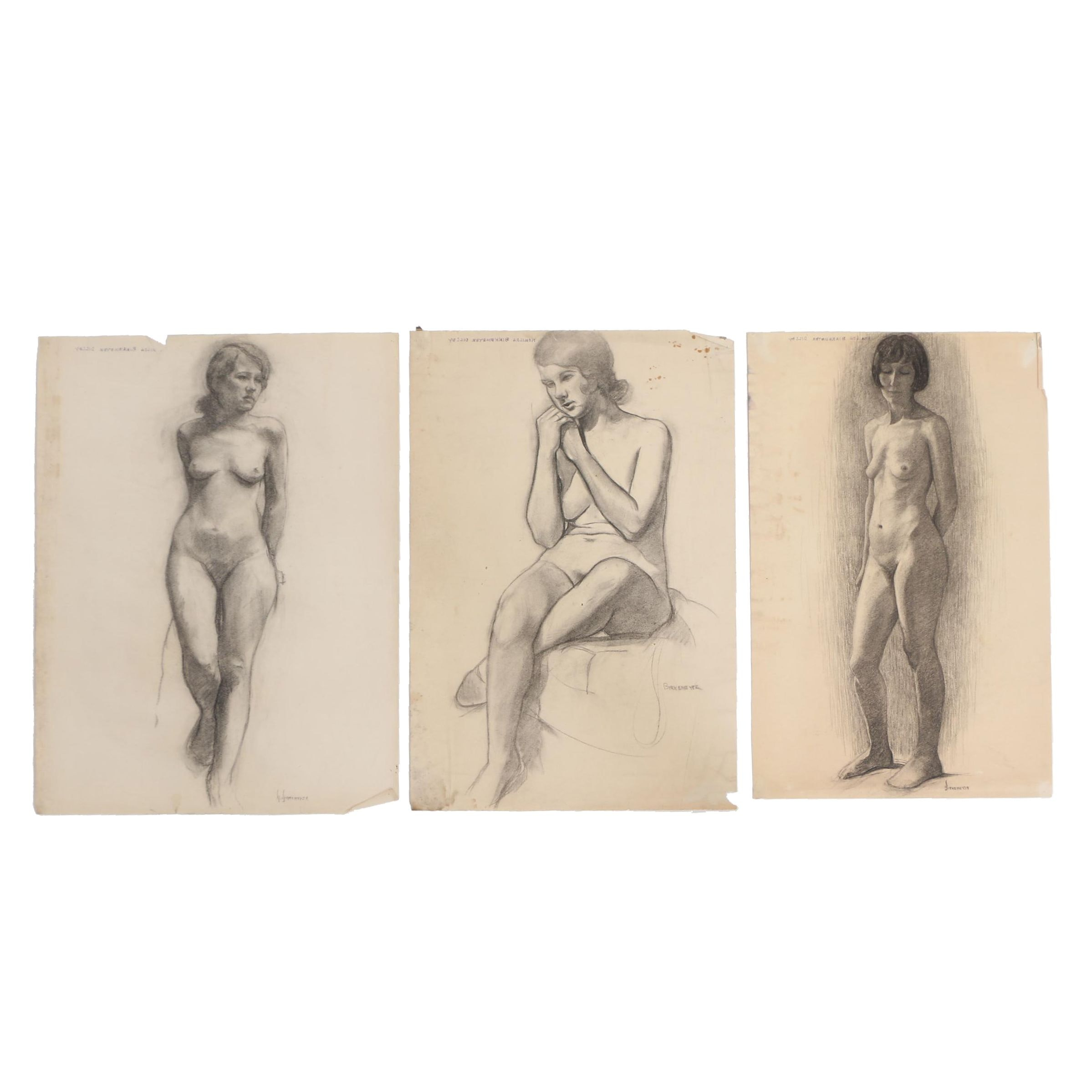 Romilda Birkemeyer Dilley Charcoal Drawings of Female Figural Studies