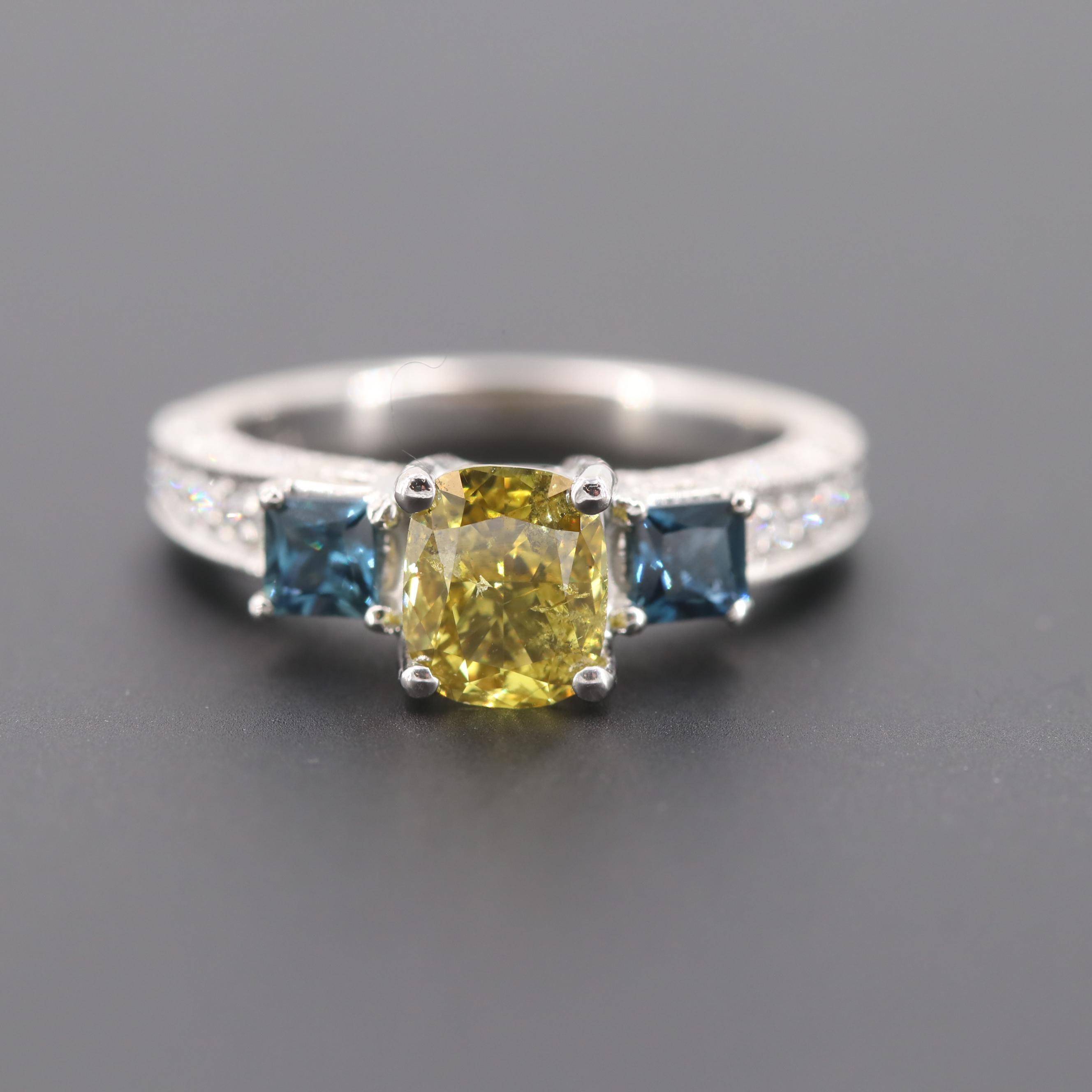 Platinum 1.28 CTW Fancy Greenish Yellow Diamond & Sapphire Ring with GIA Report