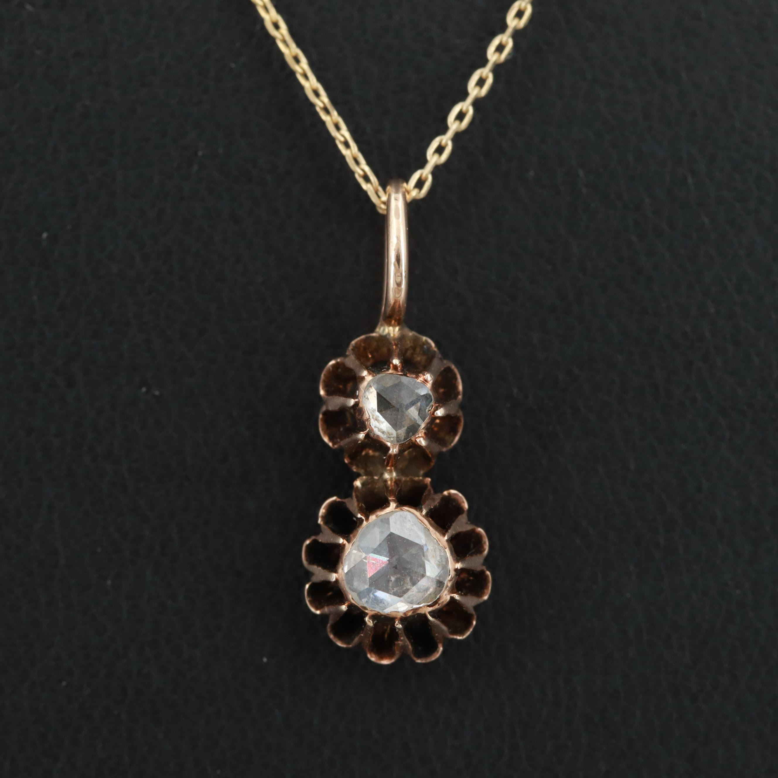 Vintage 14K Rose Gold Rose Cut Diamond Pendant on 14K Yellow Gold Chain Necklace