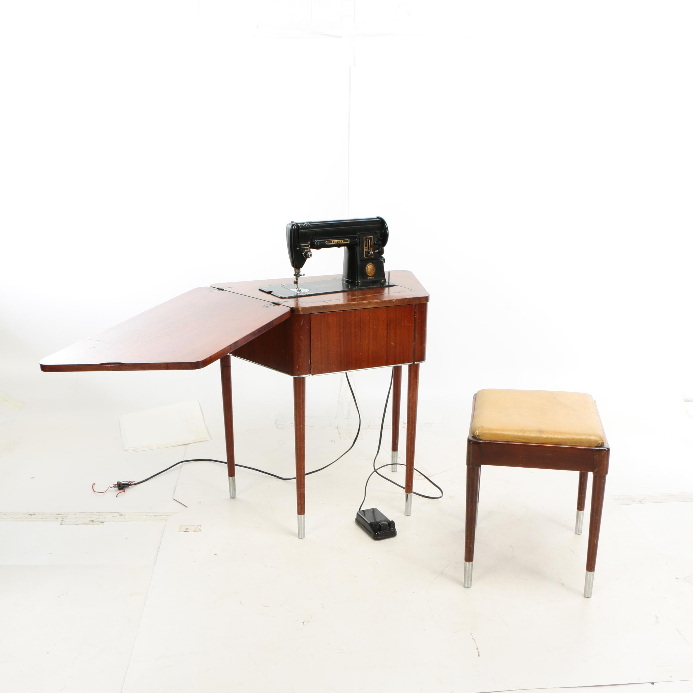 Mid Century Modern Singer Model 301 Sewing Machine Table and Stool, 1950s