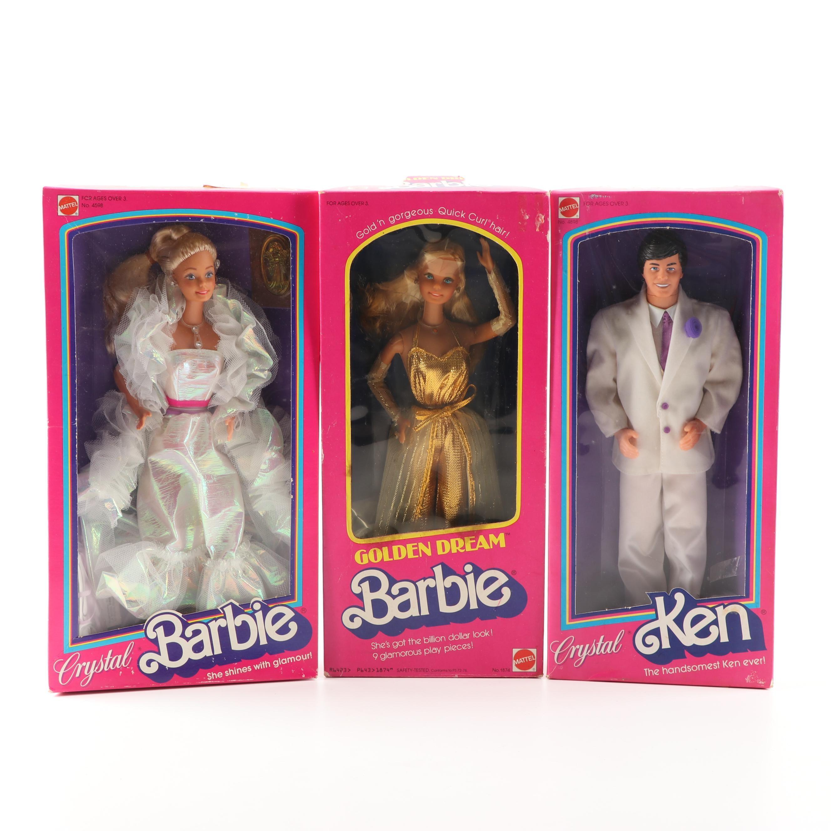 """Golden Dream"" Barbie and ""Crystal"" Barbie and Ken Dolls"