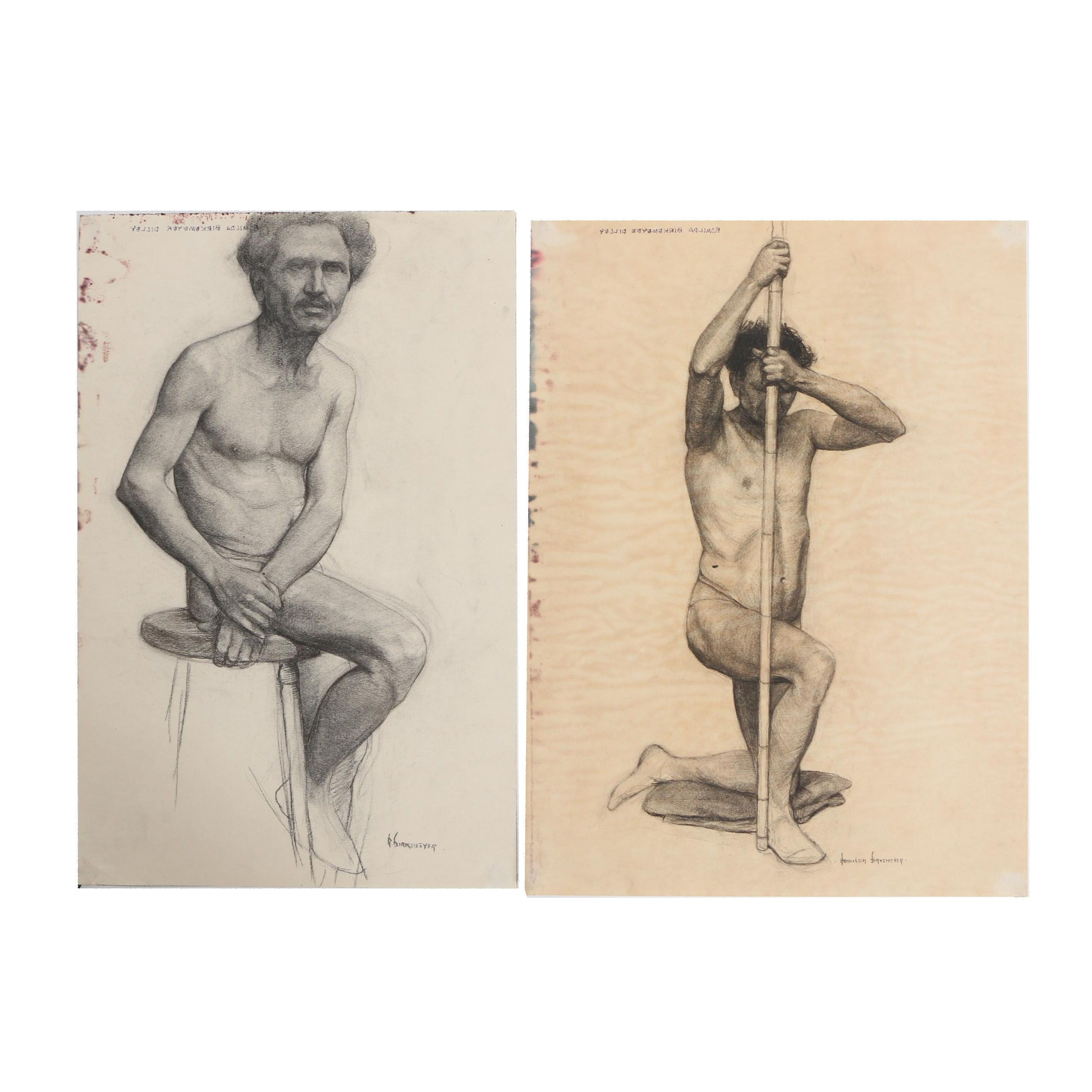 Romilda Birkemeyer Dilley Charcoal Drawings of Male Nudes