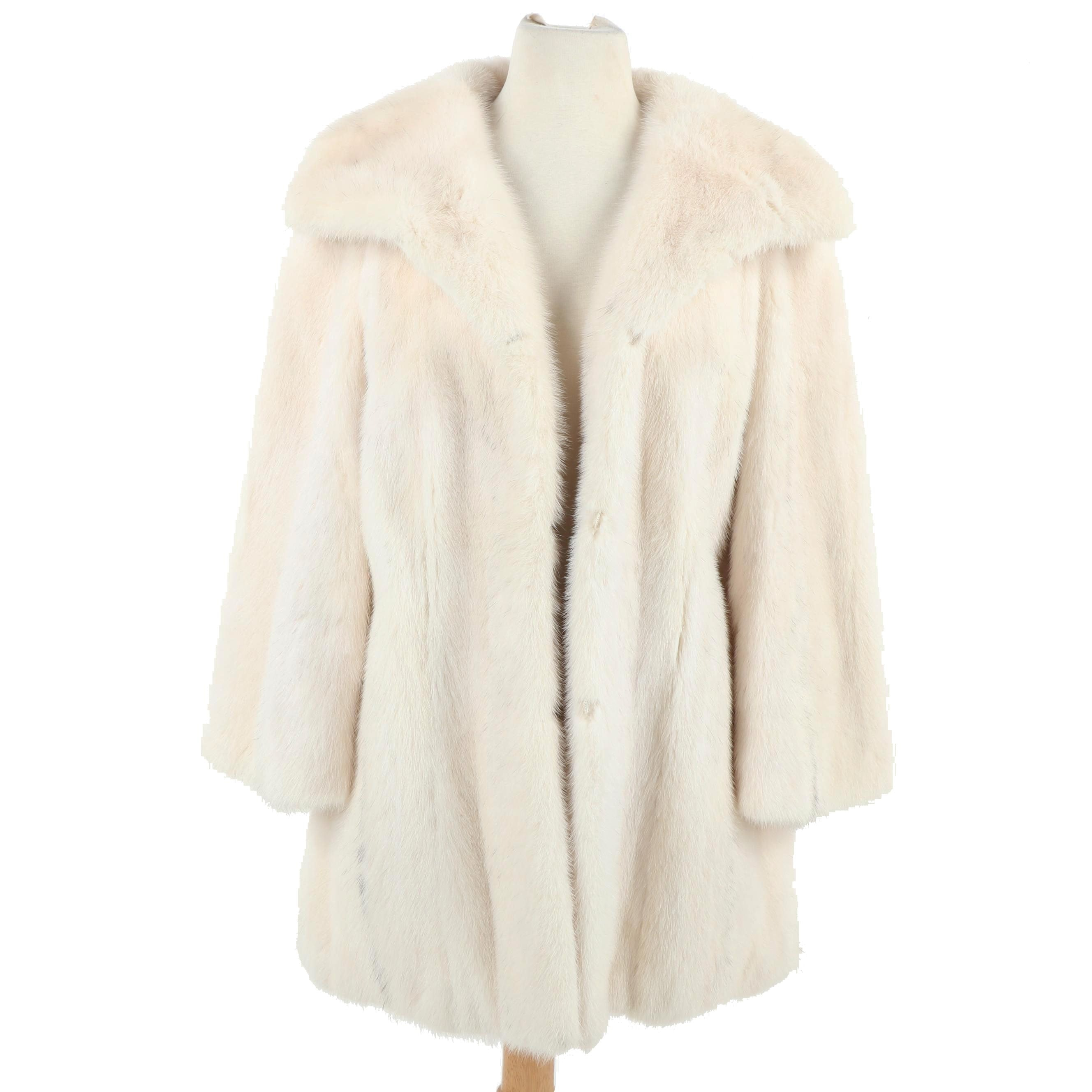 Women's White Mink Fur Coat