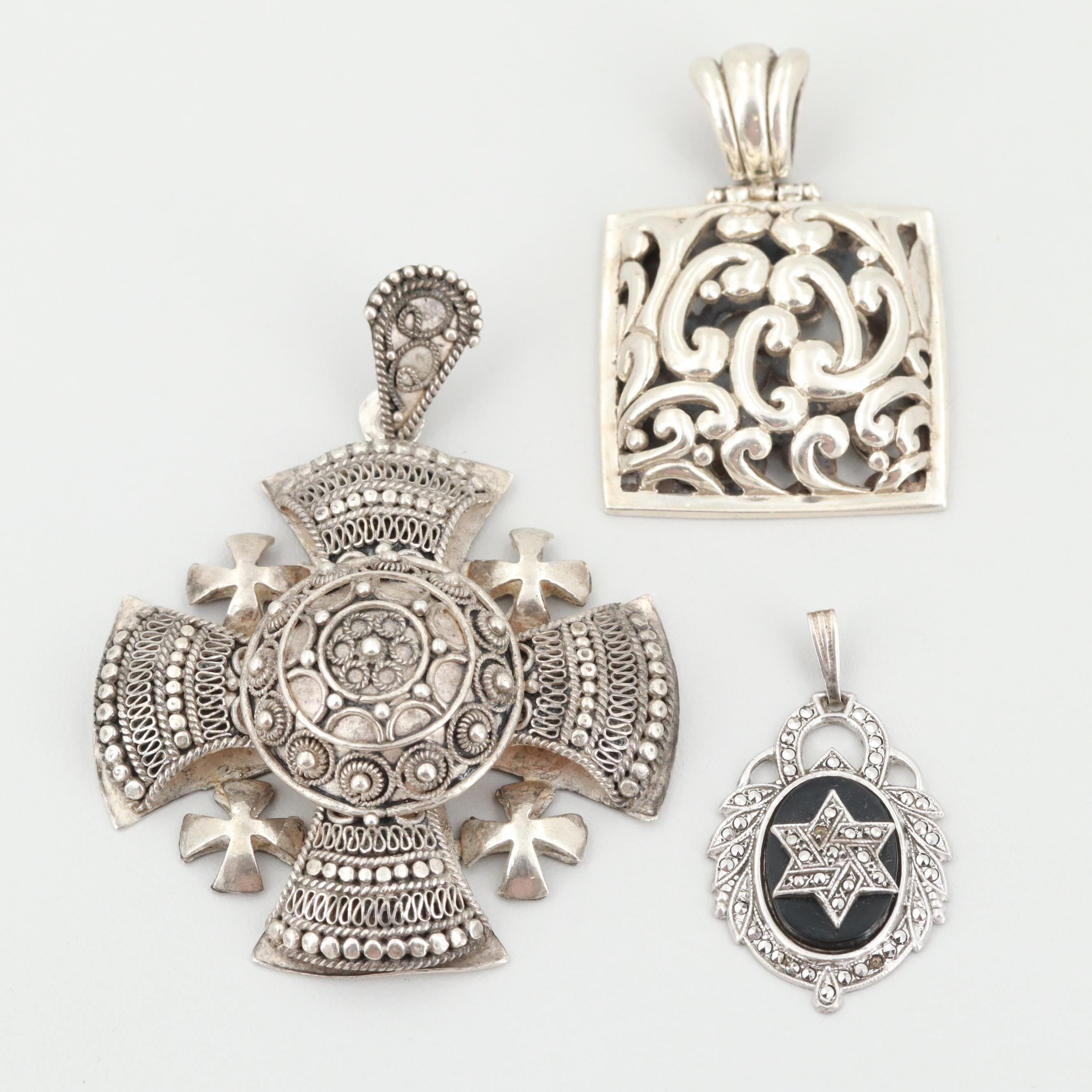 Sterling Silver Pendants Including Glass and Marcasite Star of David and Barse