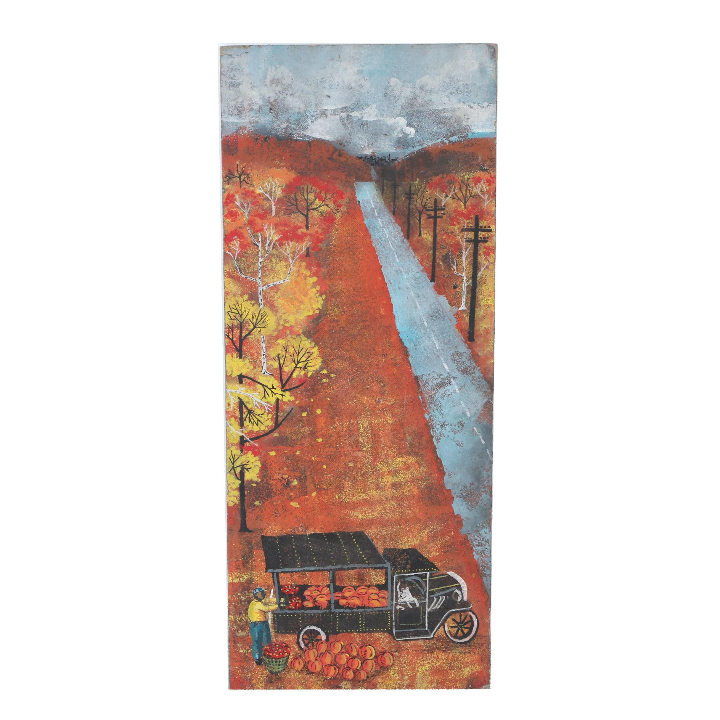 Acrylic Folk Style Painting of Autumnal Landscape