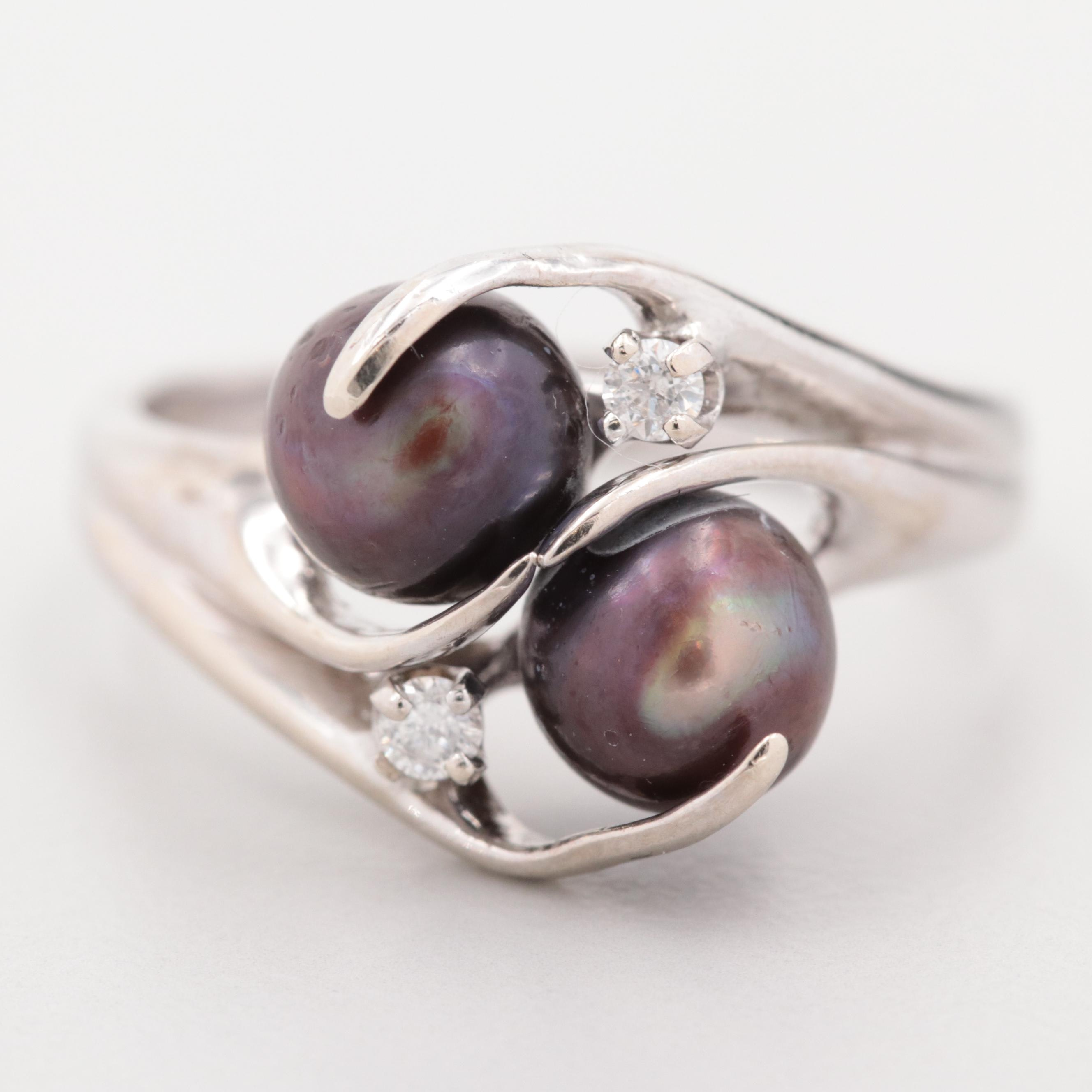 14K White Gold Cultured Pearl and Diamond Crossover Ring