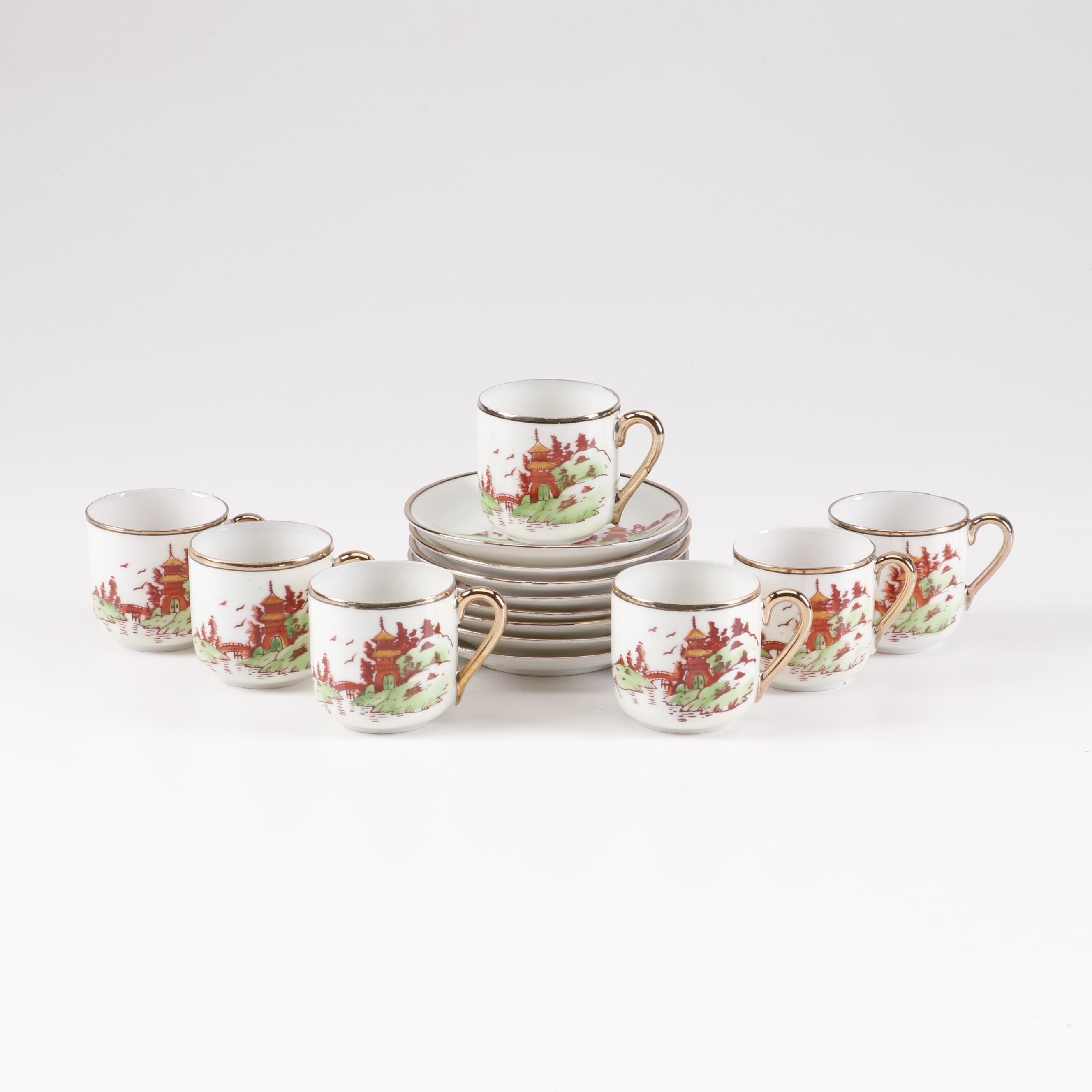 Chikaramachi Hand Painted Japanese Teacups and Saucers