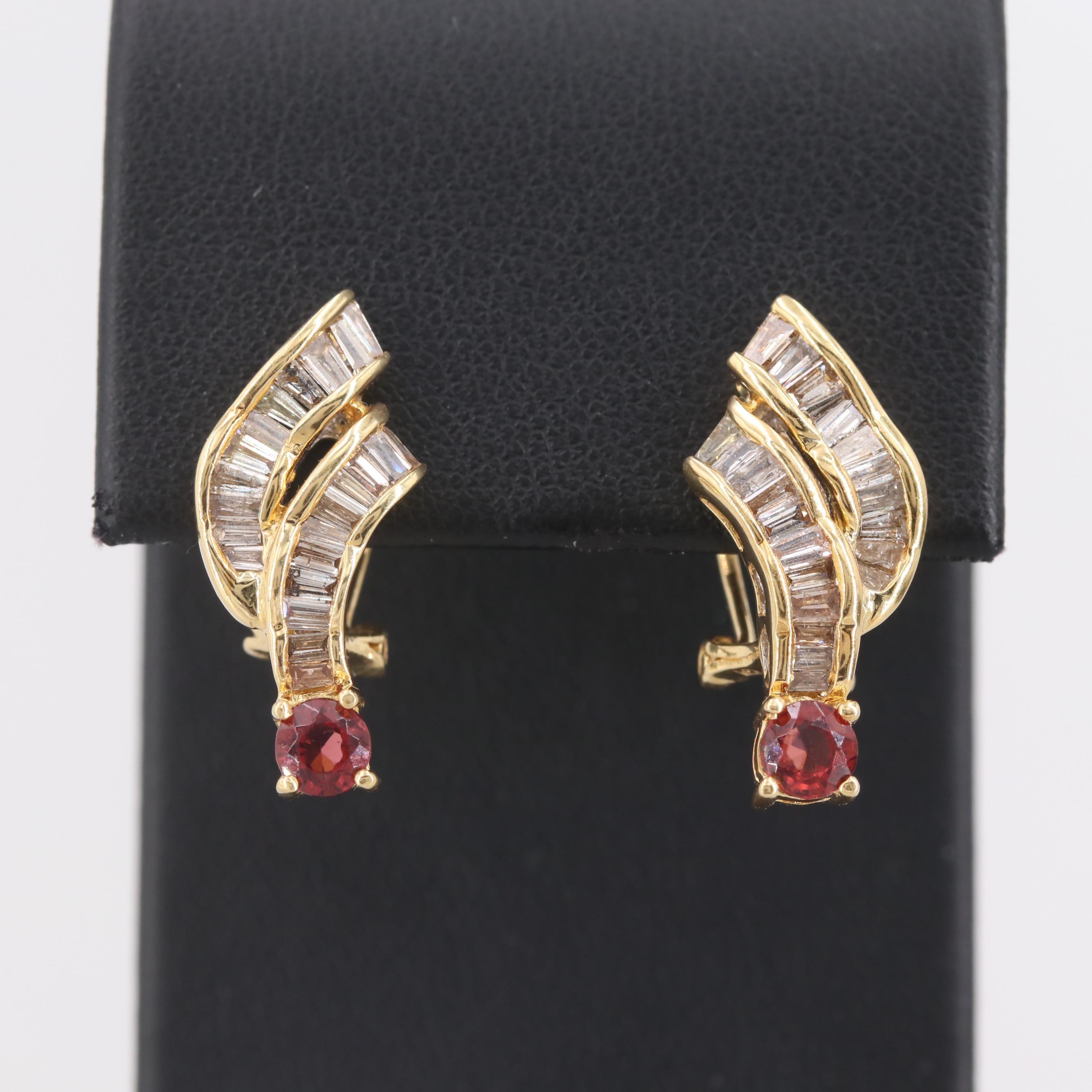 18K Yellow Gold Garnet and Diamond Earrings