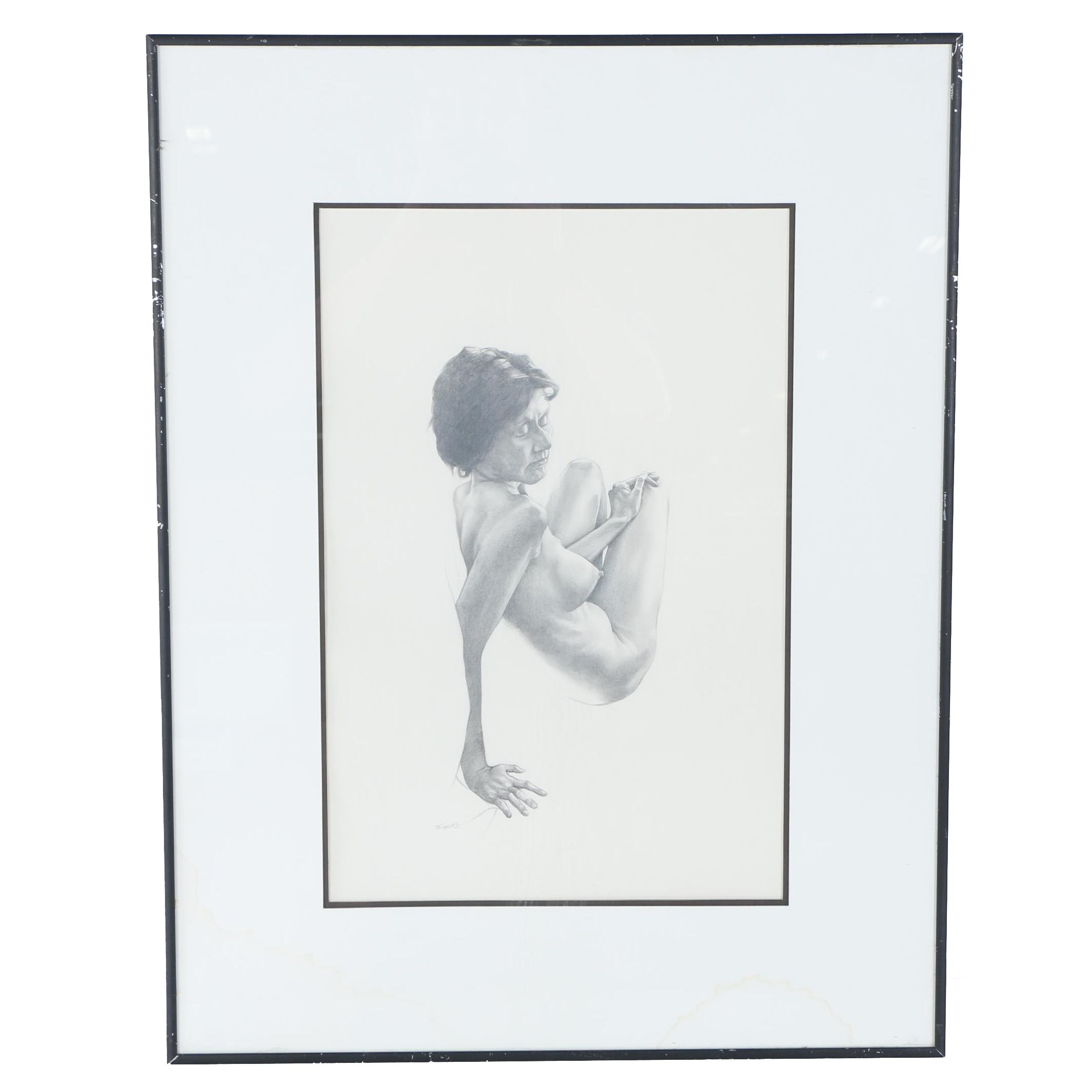 "Graphite Figural Drawing ""Female Nude"", Signed Missall"