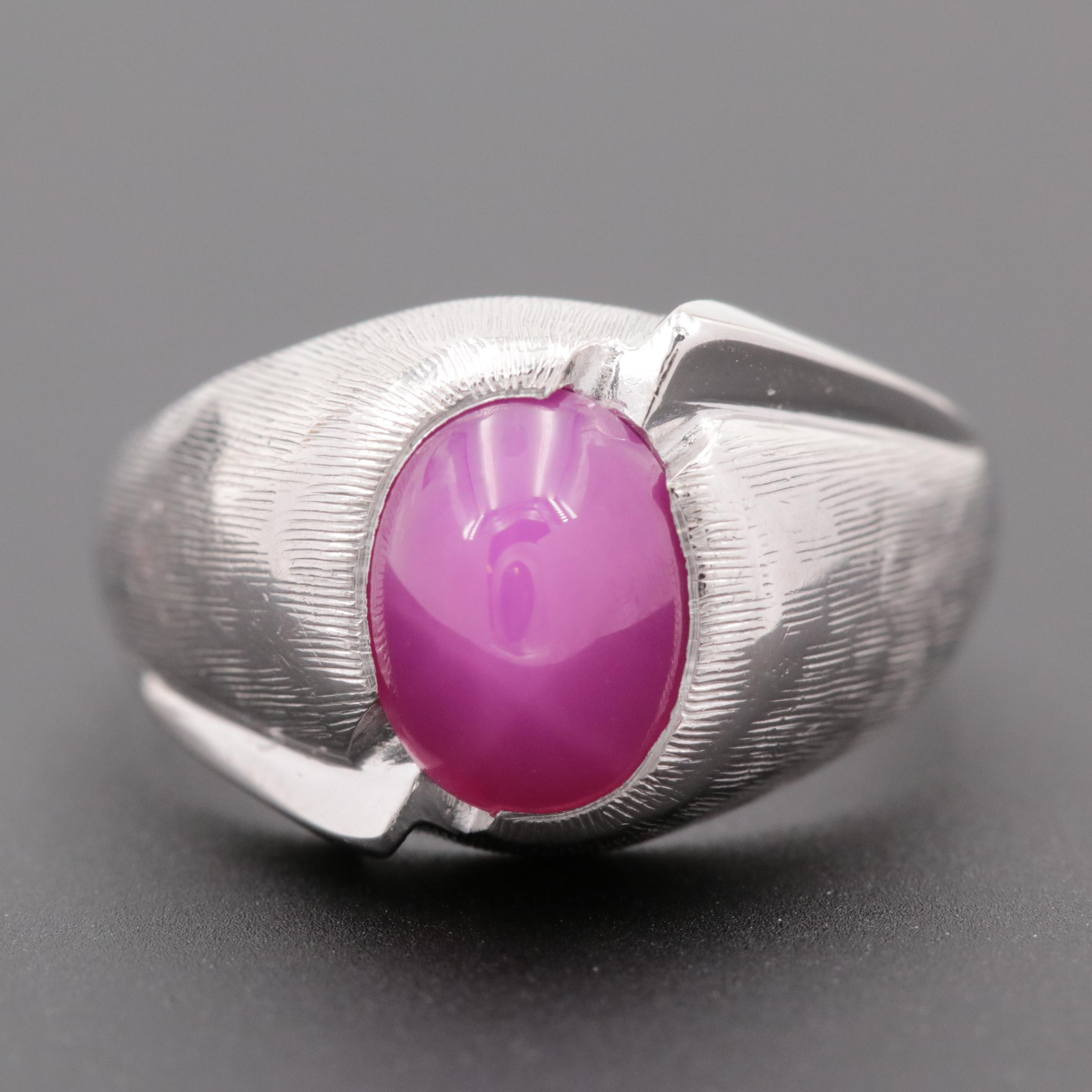 Vintage 14K White Gold Synthetic Star Ruby Ring with Florentine Finish
