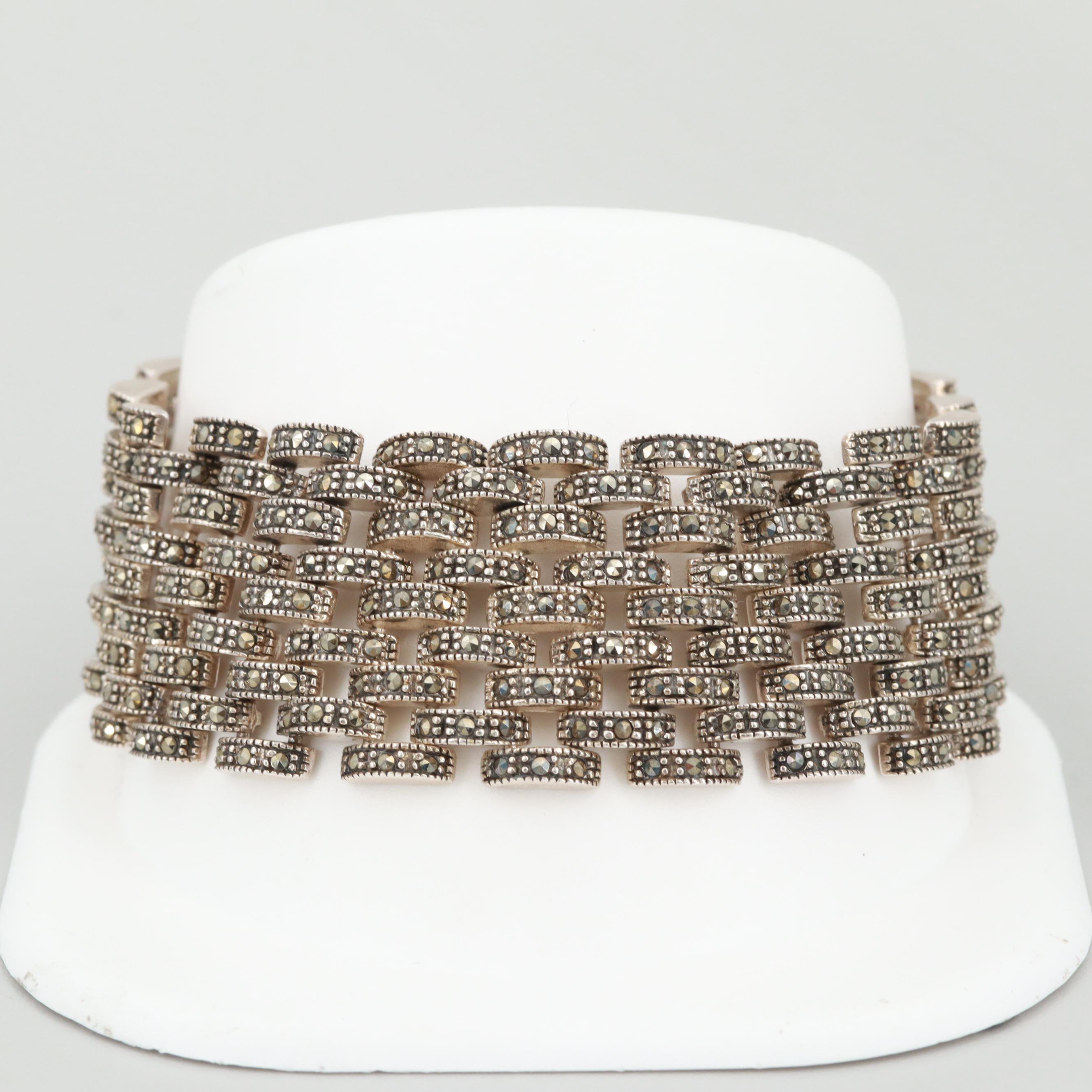 Sterling Silver Marcasite Panther Link Bracelet