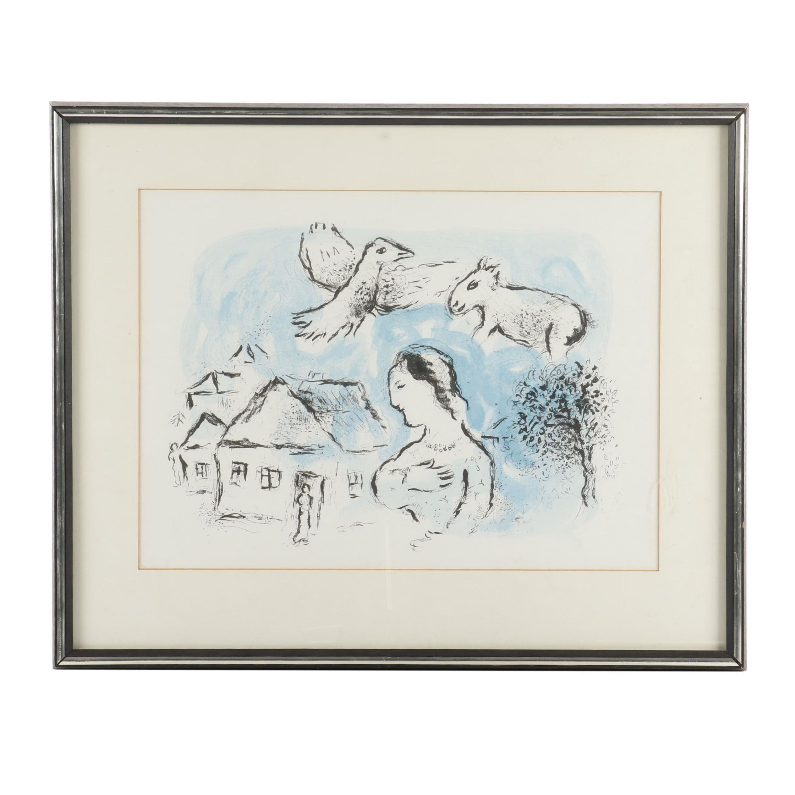 "Marc Chagall Color Lithograph for ""Derrière le Miroir"""