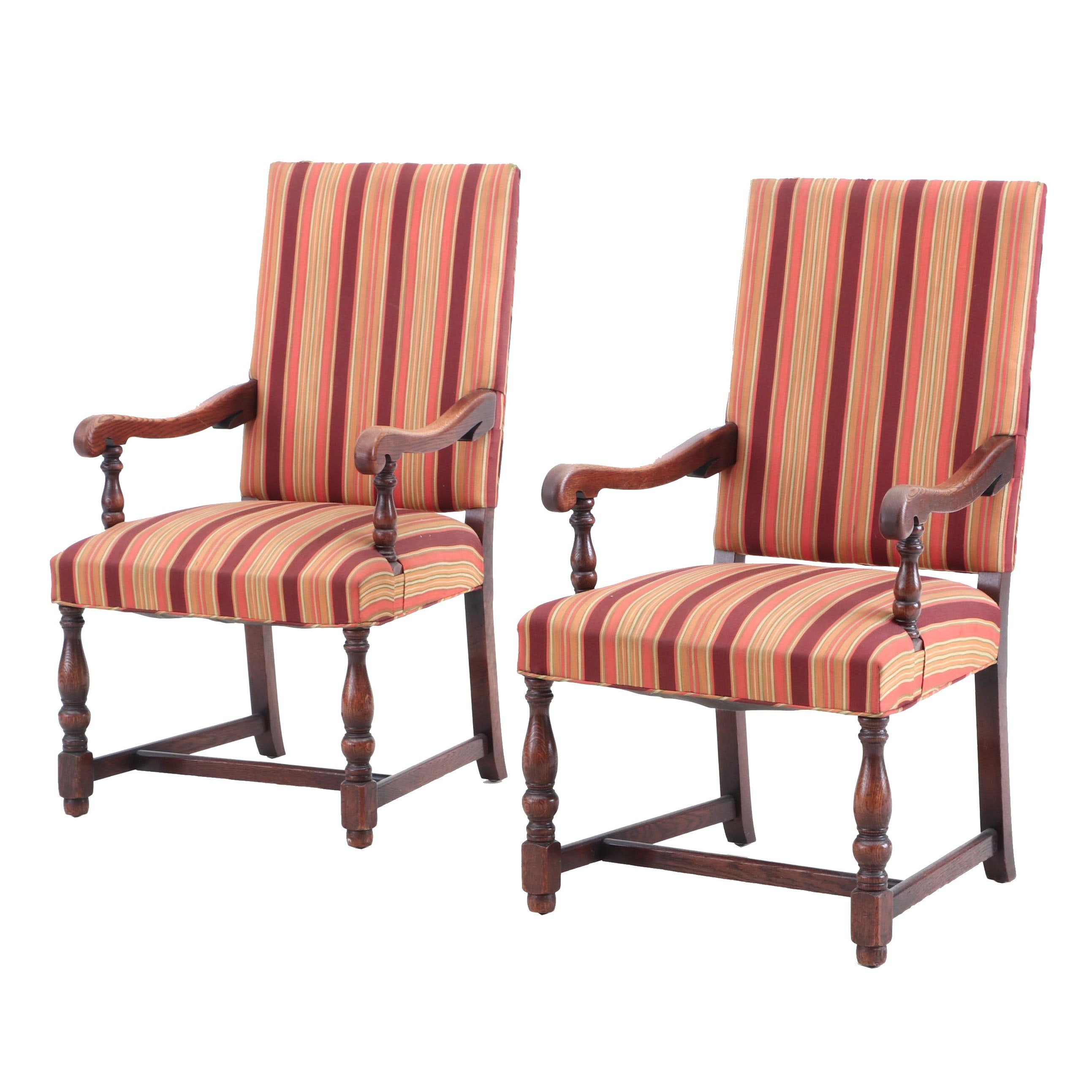 Jacobean Revival Style Upholstered Arm Chairs