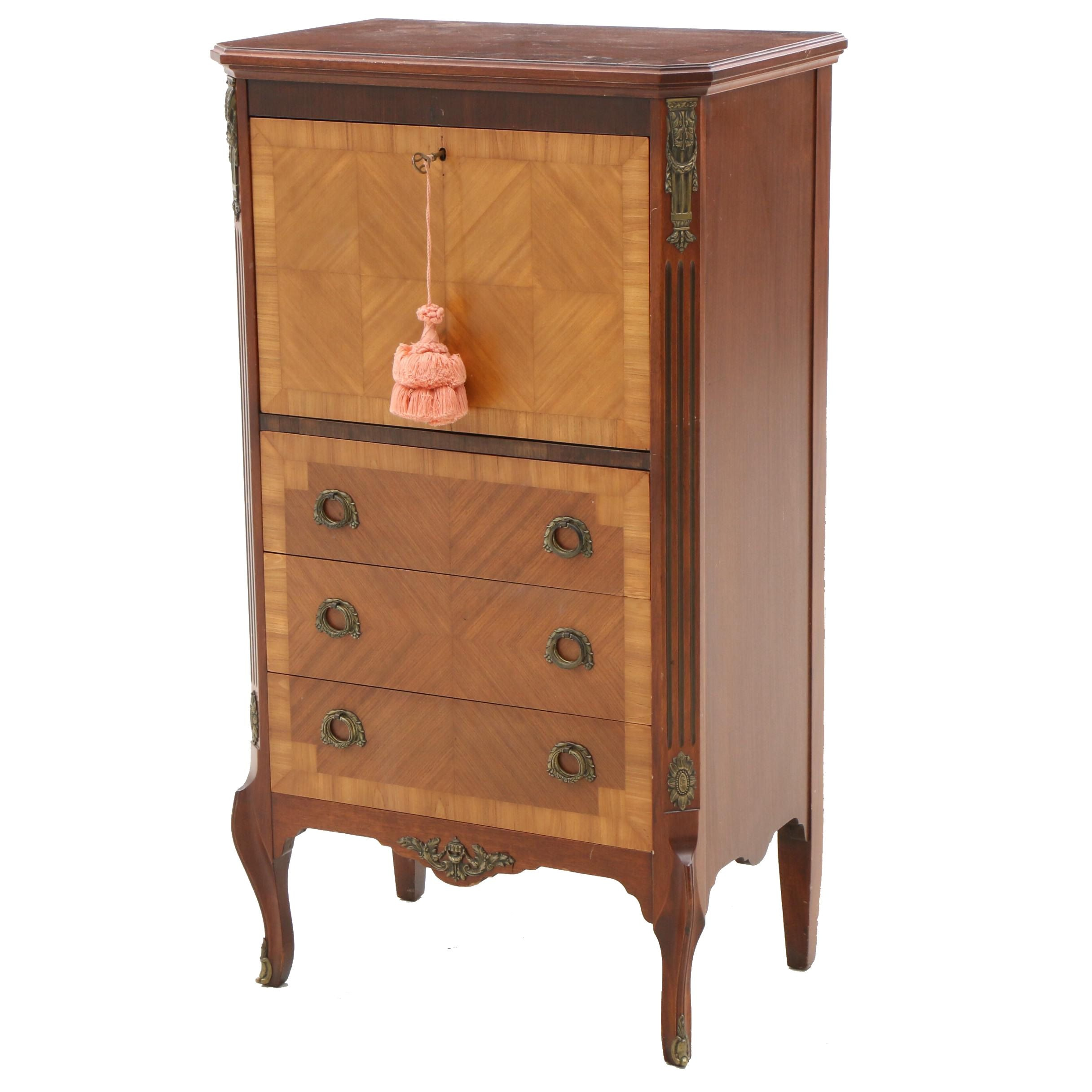 Louis XV Style Mahogany and Satinwood Secretaire Abattant