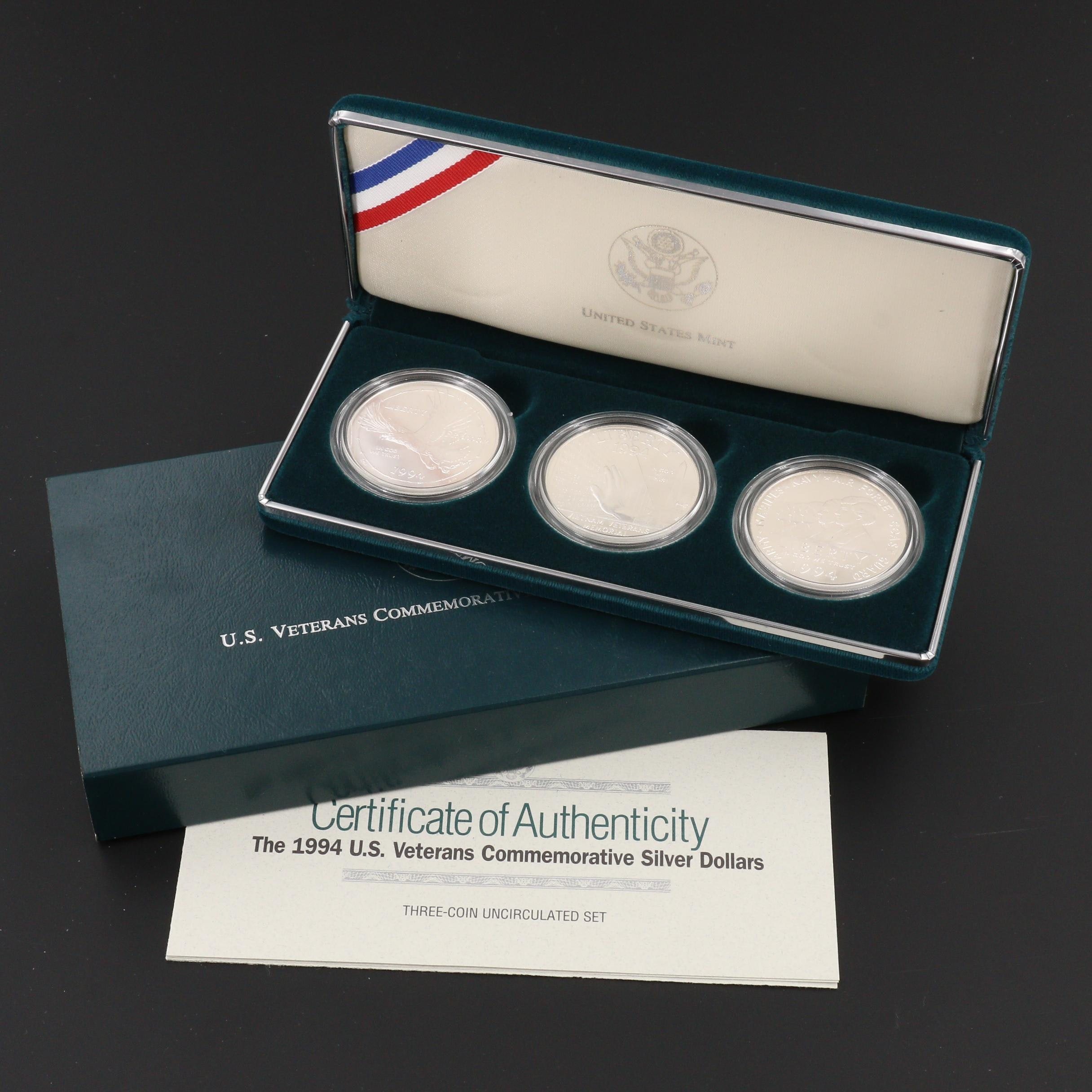 """U.S. Veterans Commemorative Silver Dollars"" Three-Coin U.S. Mint Set"