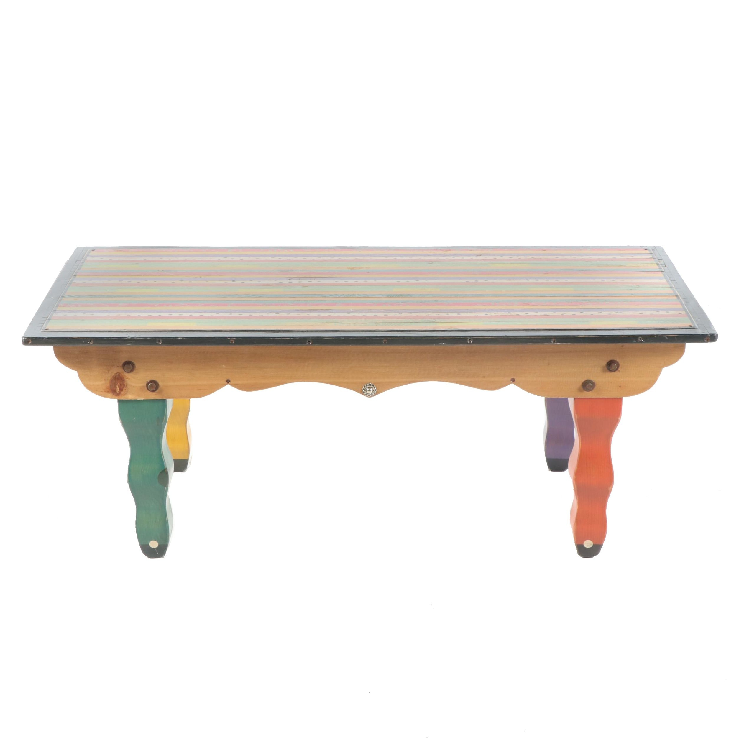 Hand-Painted Coffee Table by Shoestring Creations, 21st Century