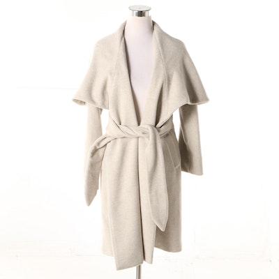 Mara Hoffman Wool Blend Coat with Cape Collar and Tie Belt