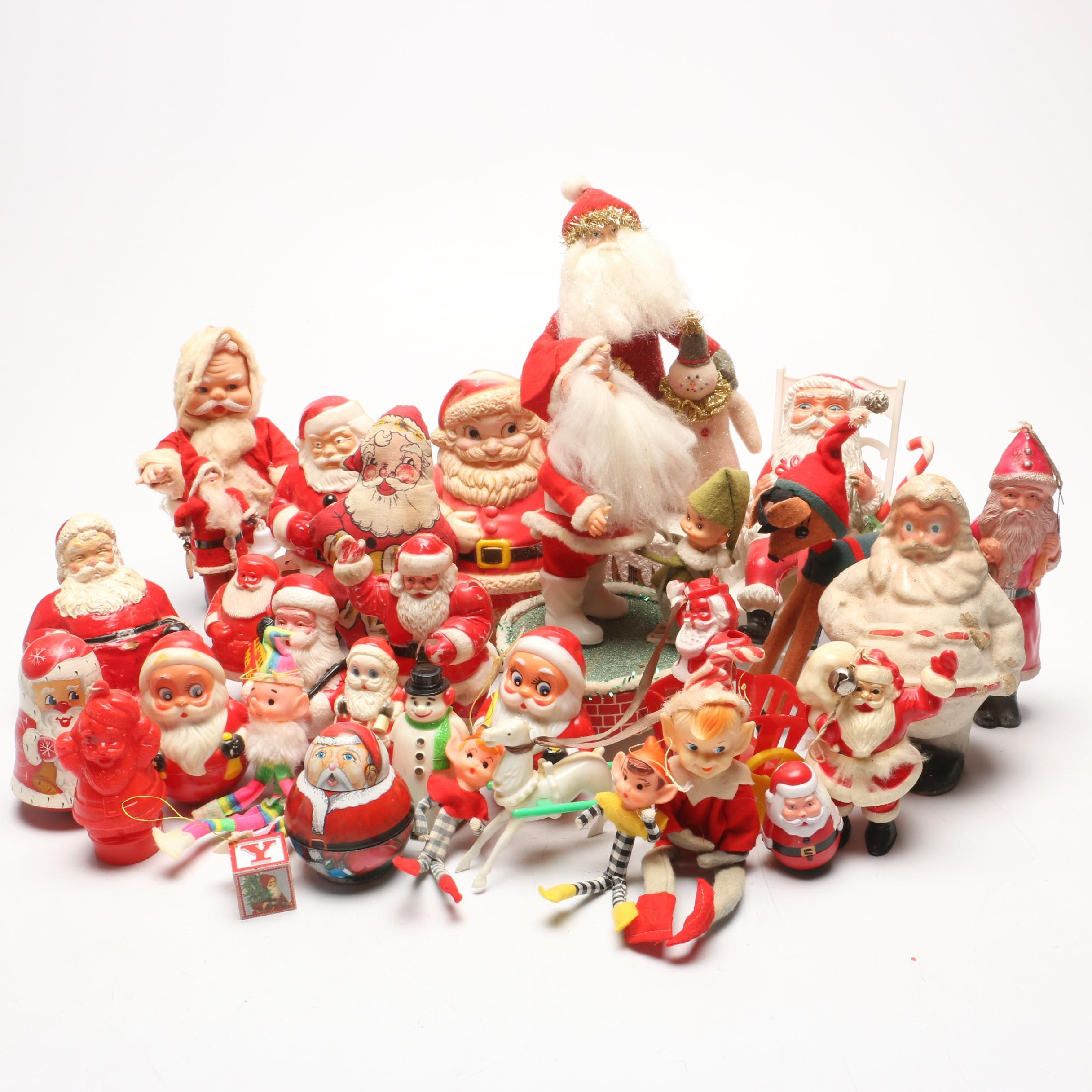 Grouping of Vintage Santa Claus and Elf Figurines and Toys