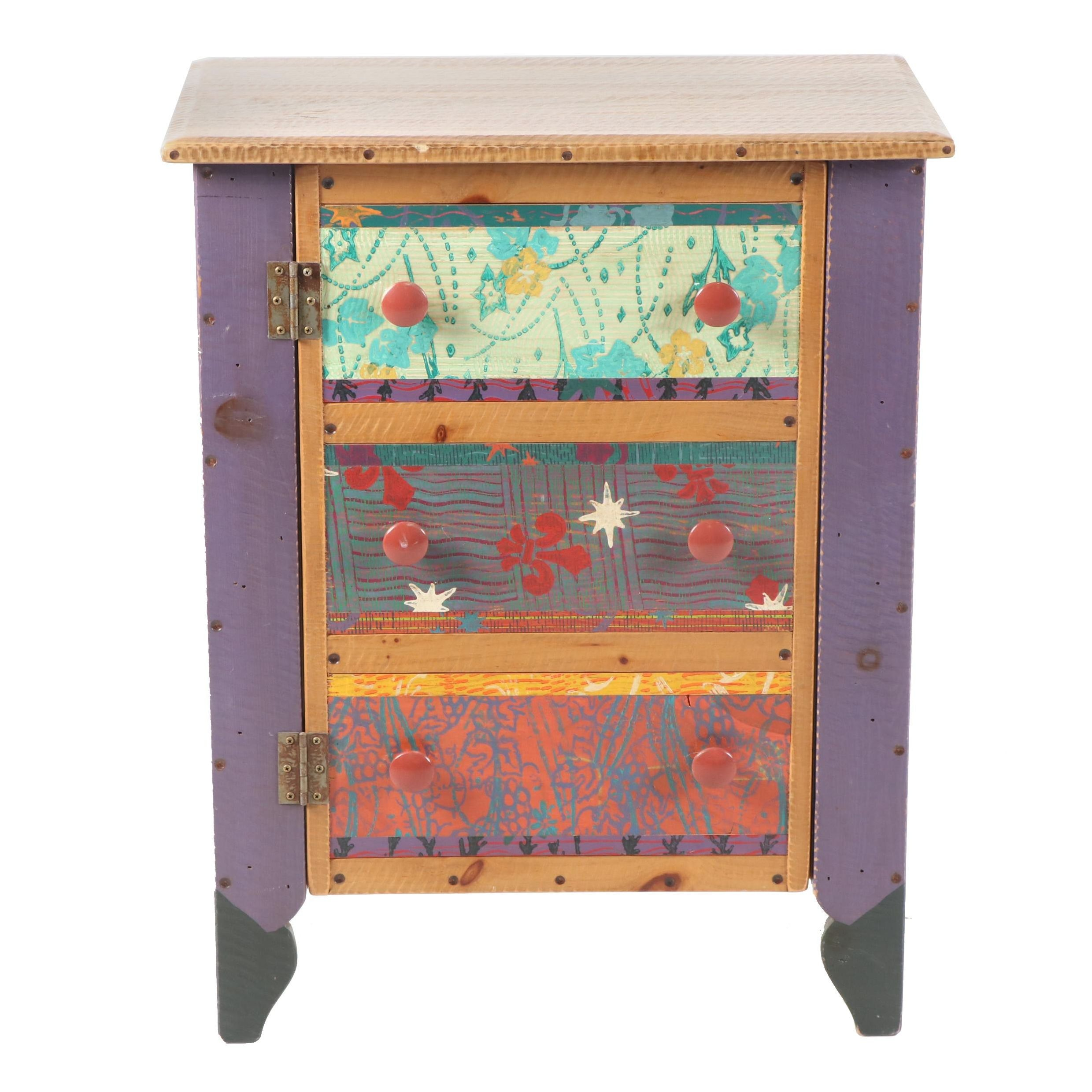 Hand-Painted Wood Nightstand Cabinet by Shoestring Creations, 21st C.