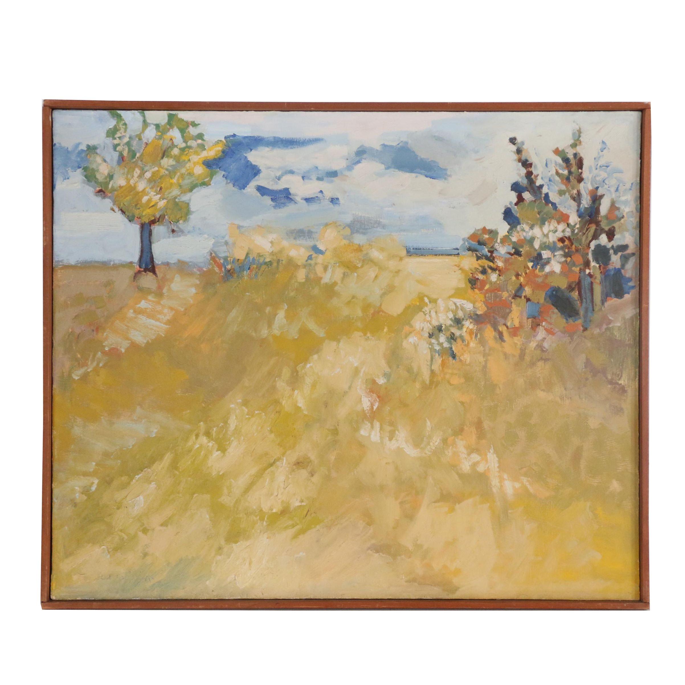 "Lee Guilliatt Oil Painting ""New England Landscape"", 1967"