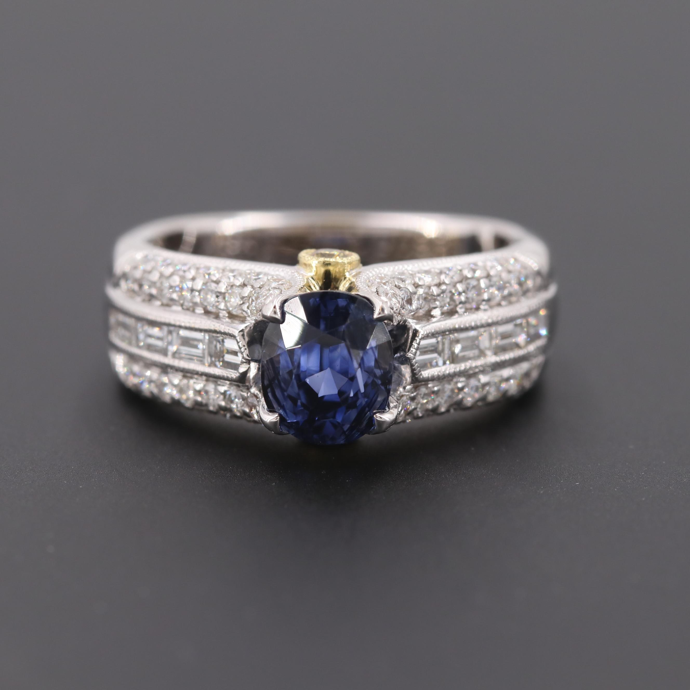 Simon G. 18K White Gold 2.06 CT Unheated Sapphire and 1.42 CTW Diamond Ring GIA