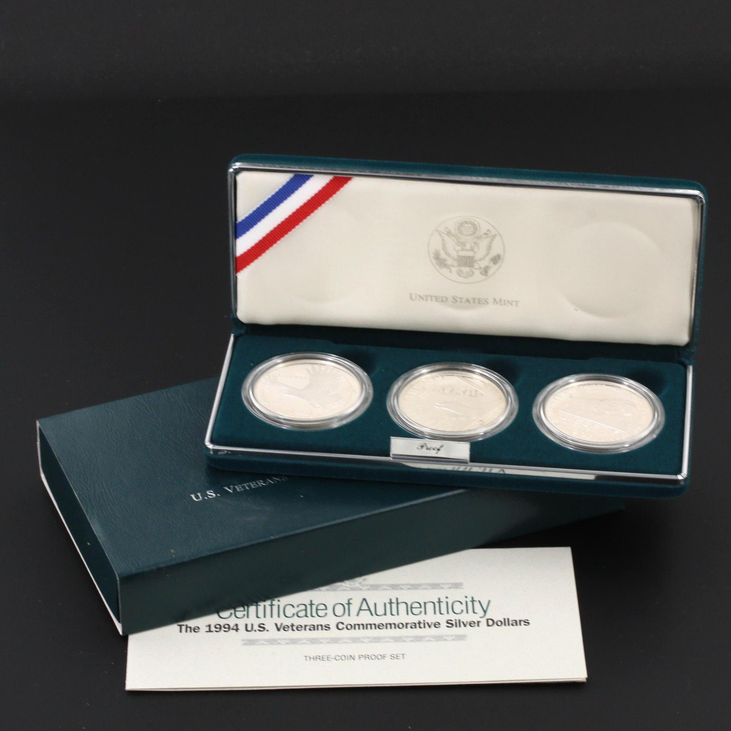 """U.S. Veterans Commemorative Silver Dollars"" Three-Coin U.S. Mint Proof Set"