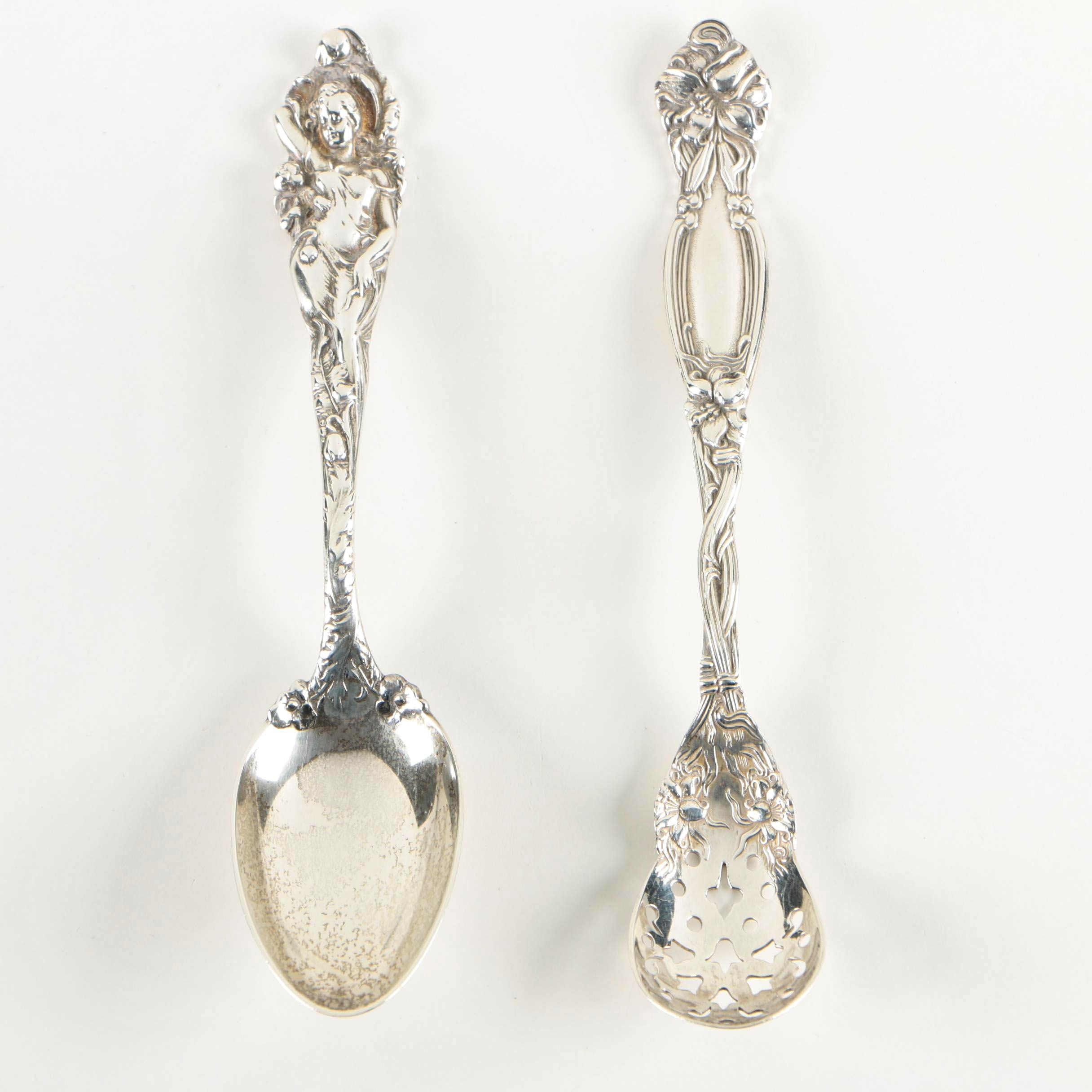 """Reed & Barton """"Love Disarmed"""" Sterling Teaspoons and Olive Spoon"""