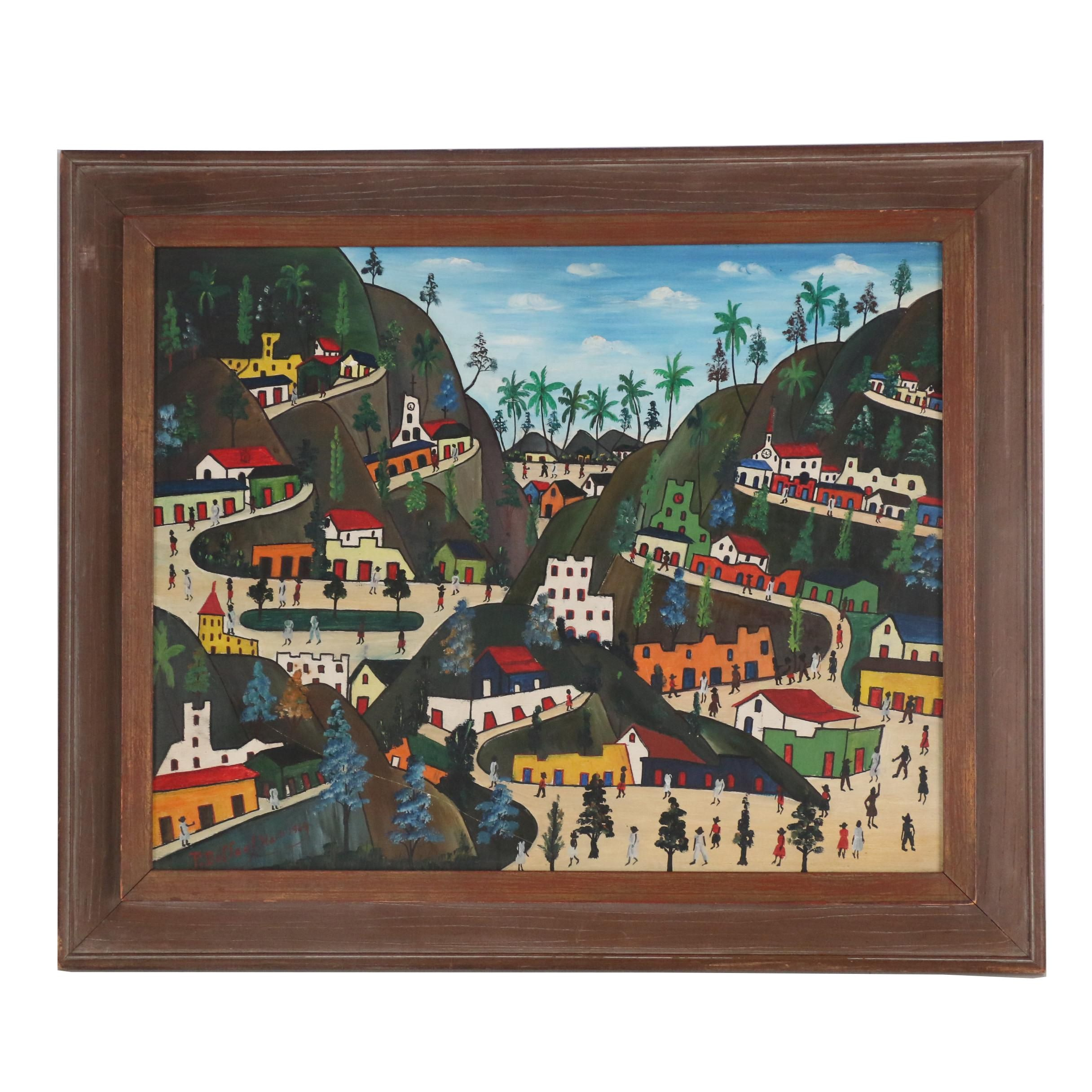 Préfète Duffaut Oil Painting of Haitian Village, 1965