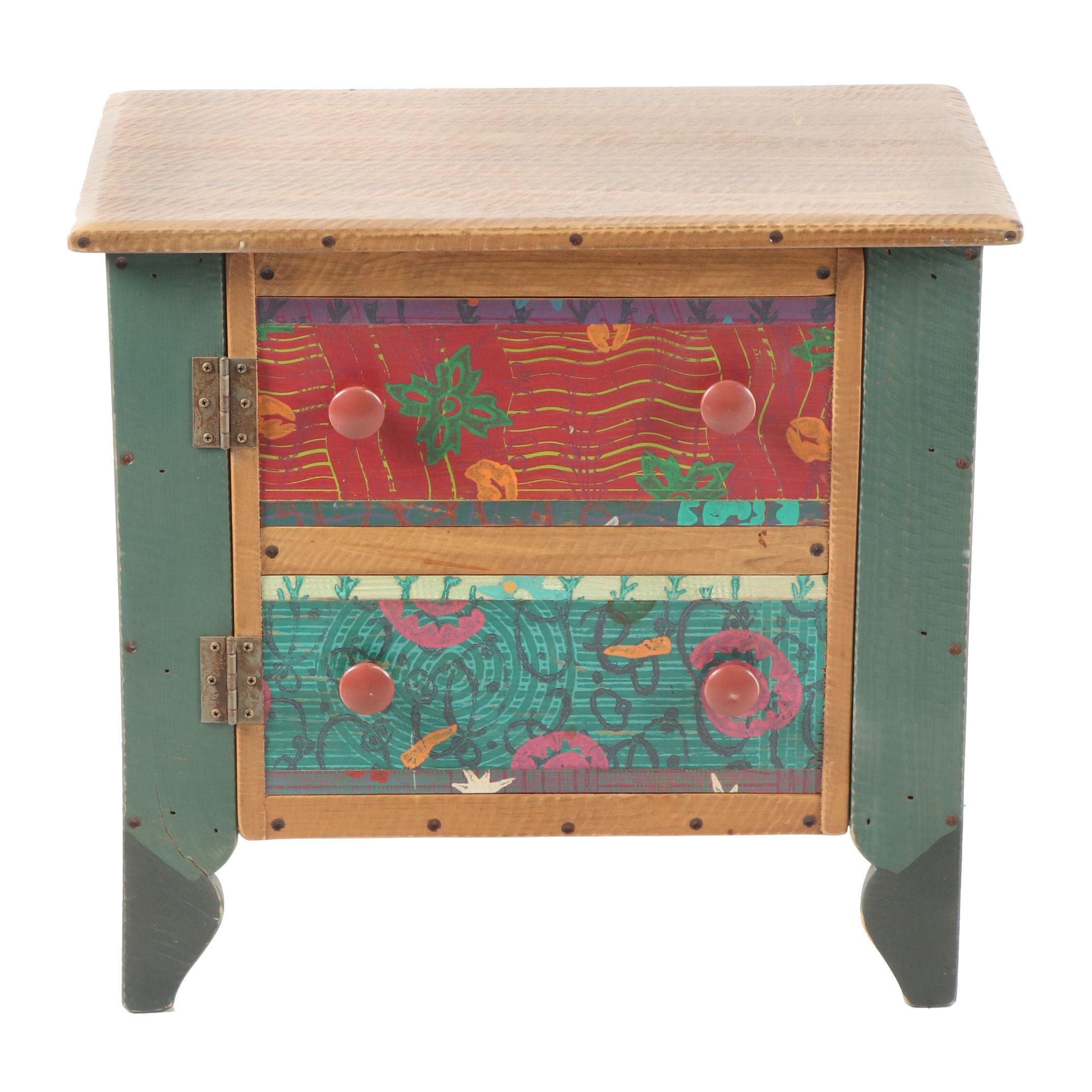 Hand-Painted Wood Nightstand by Shoestring Creations, 21st Century