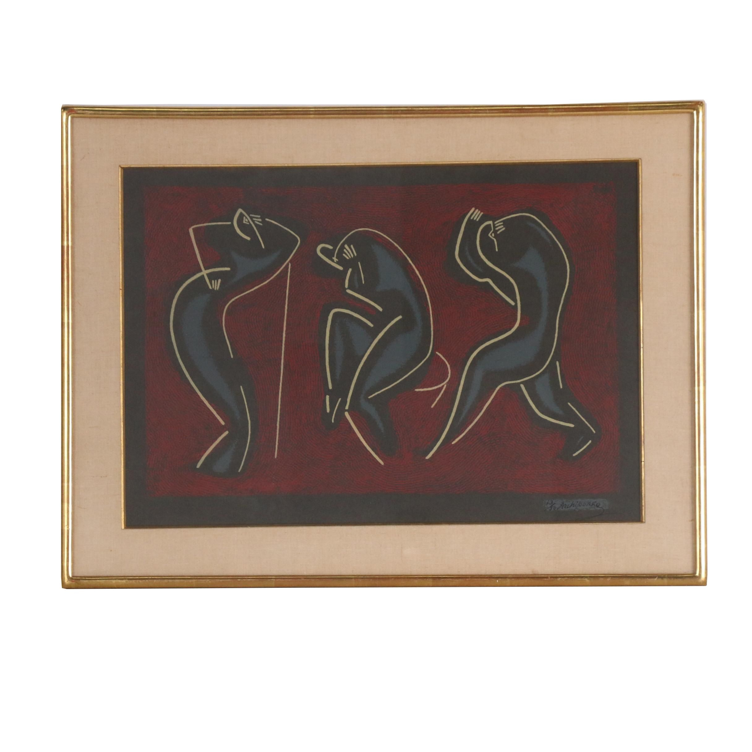 "Alexander Archipenko Color Serigraph and Lithograph ""Three Dancers"""