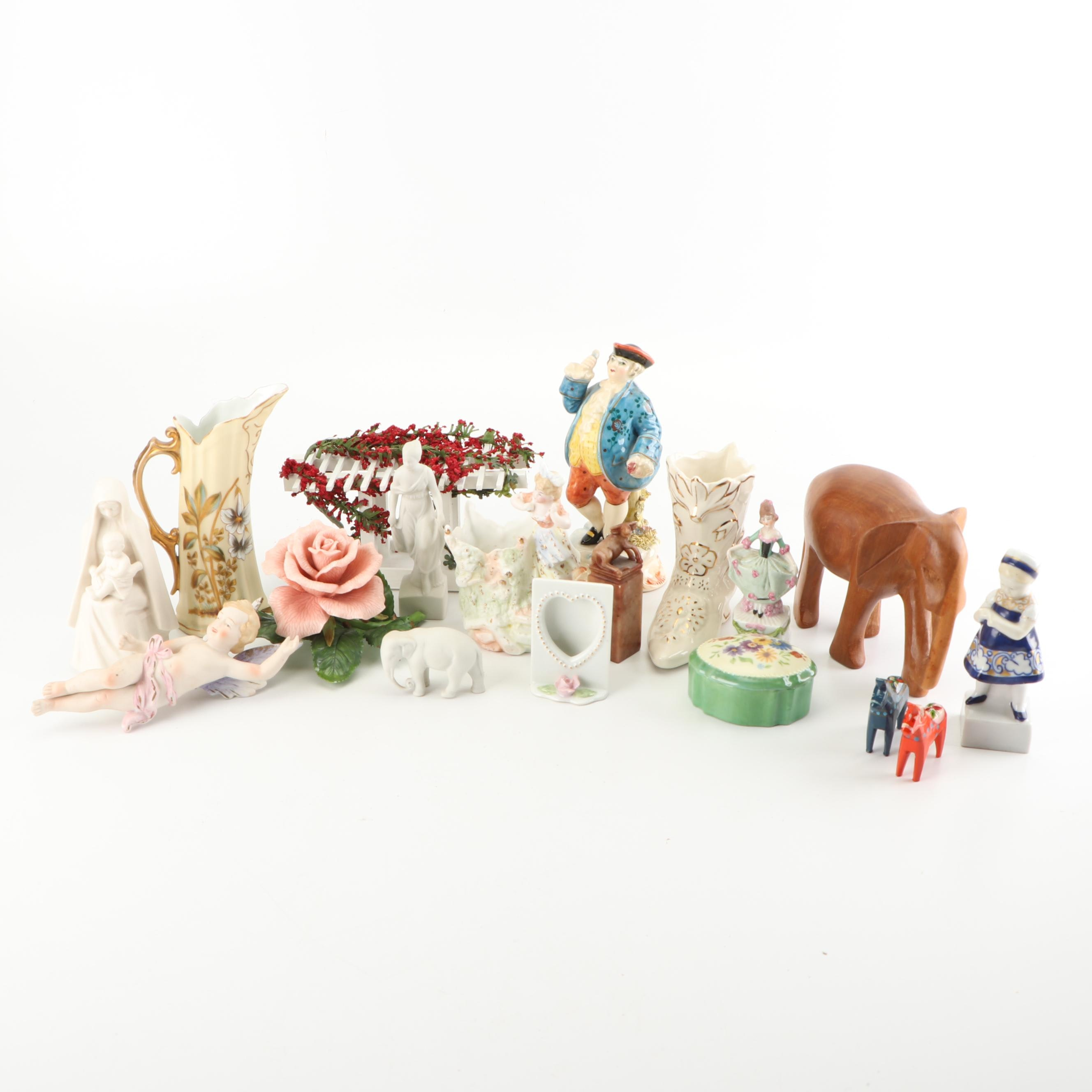 Hand-Painted Porcelain and Wood Figurines and Decor