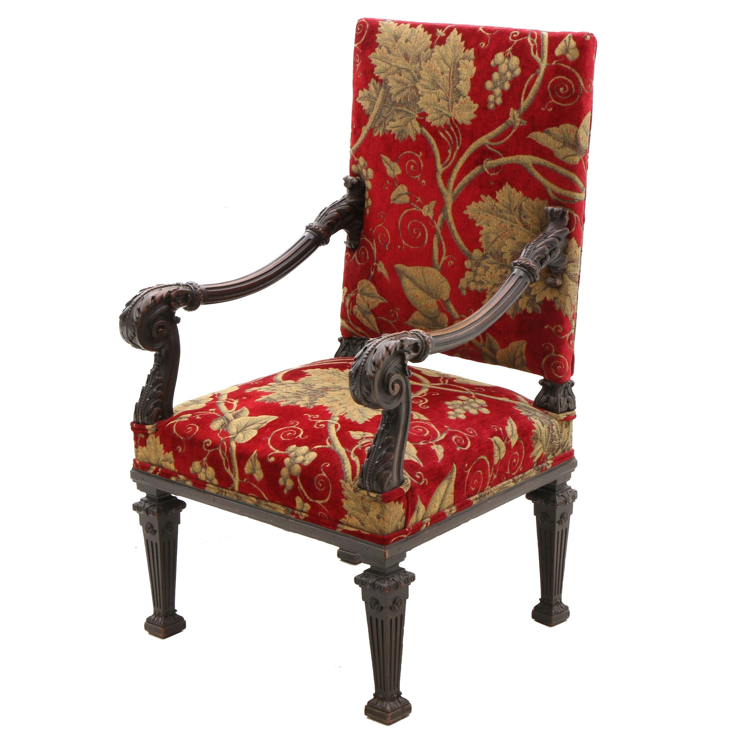 Renaissance Style Carved Mahogany  Upholstered Arm Chair, Circa 1900s