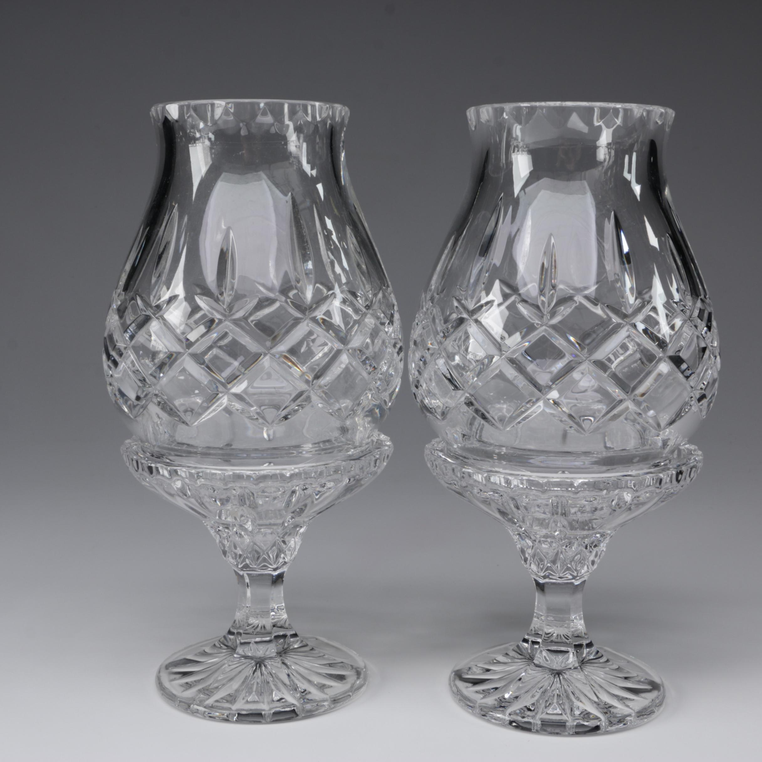 Footed Crystal Hurricane Candle Holders After Waterford Crystal