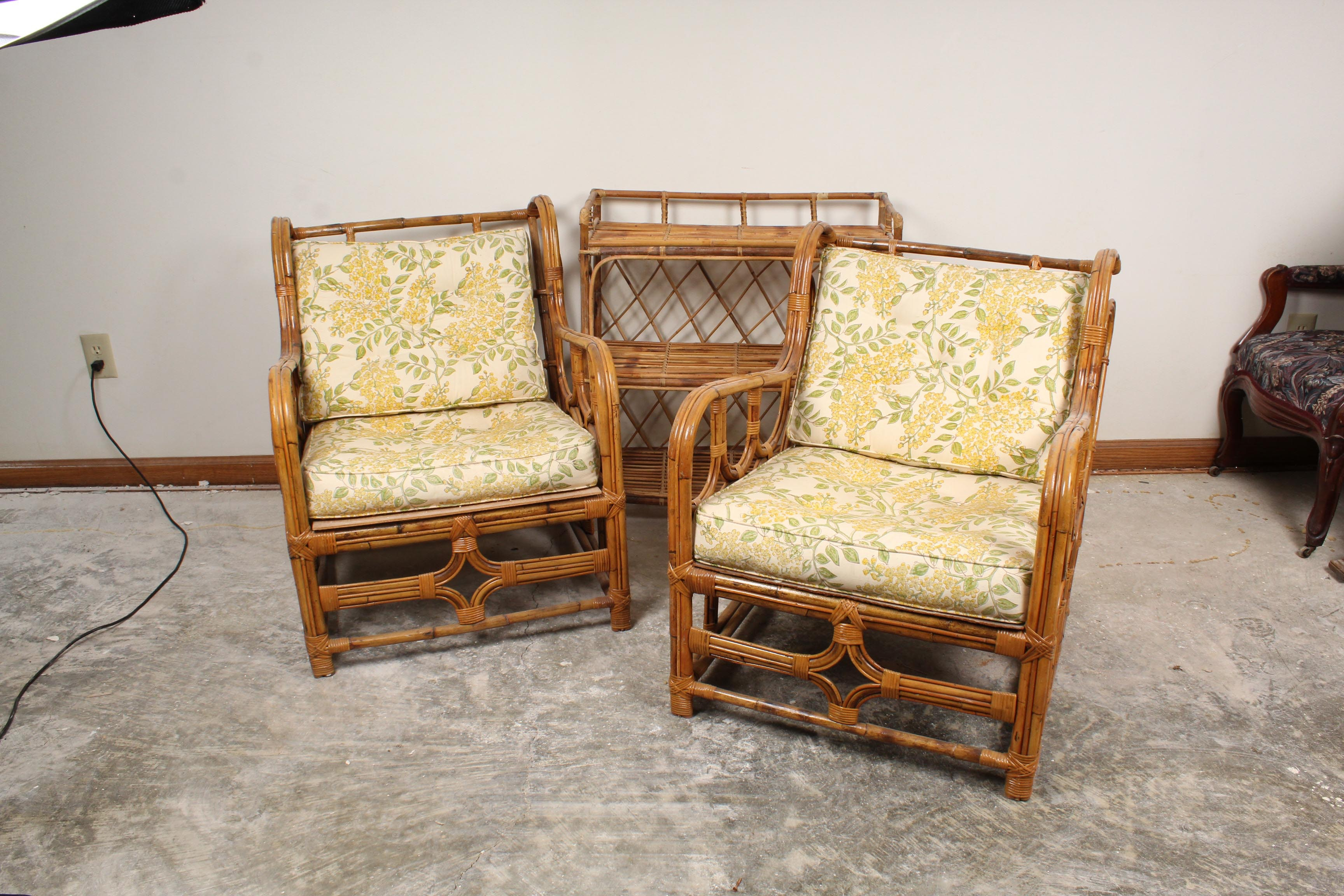 Rattan Frame Chairs and Side Table