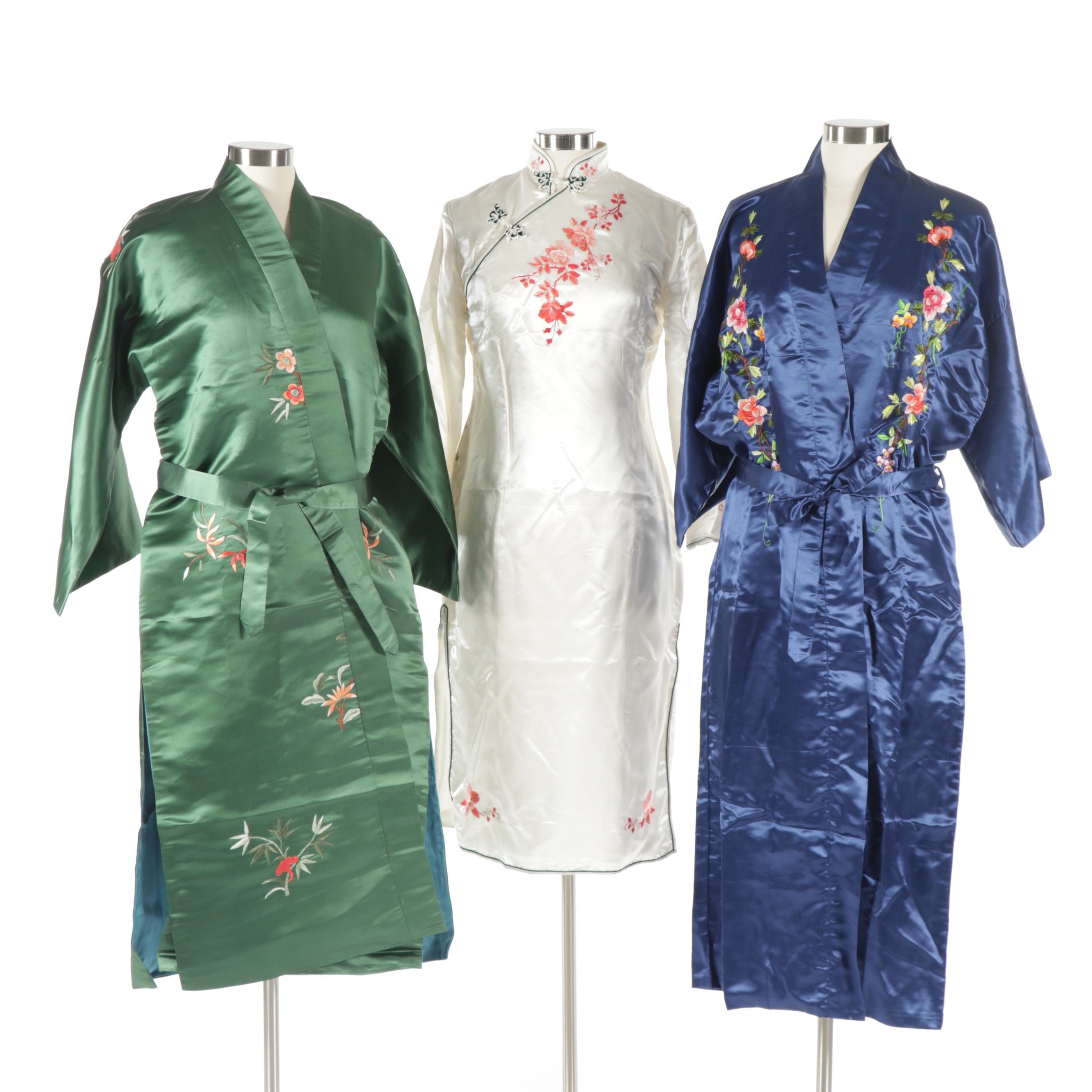 Chinese Multicolor Floral Embroidered Silk Cheongsam and Robes
