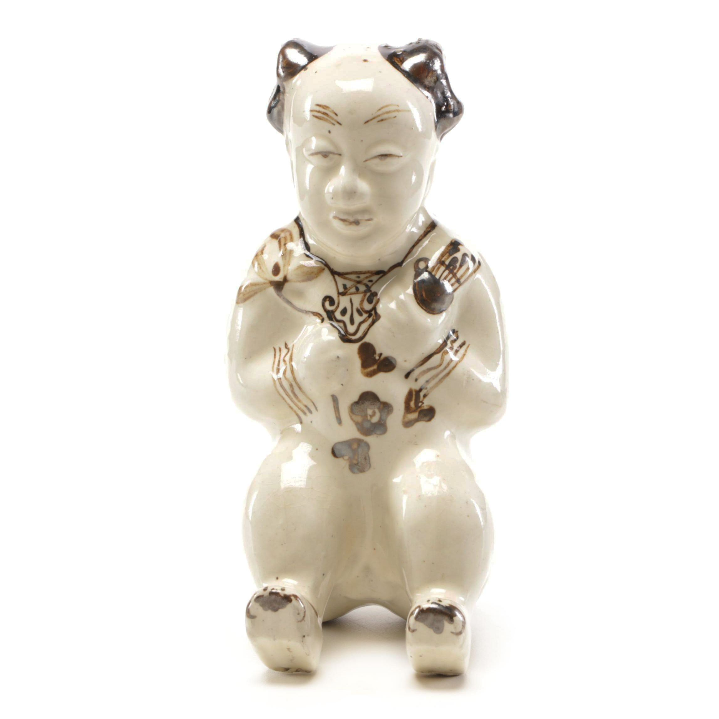 Chinese Ceramic Figurine of Sitting Man