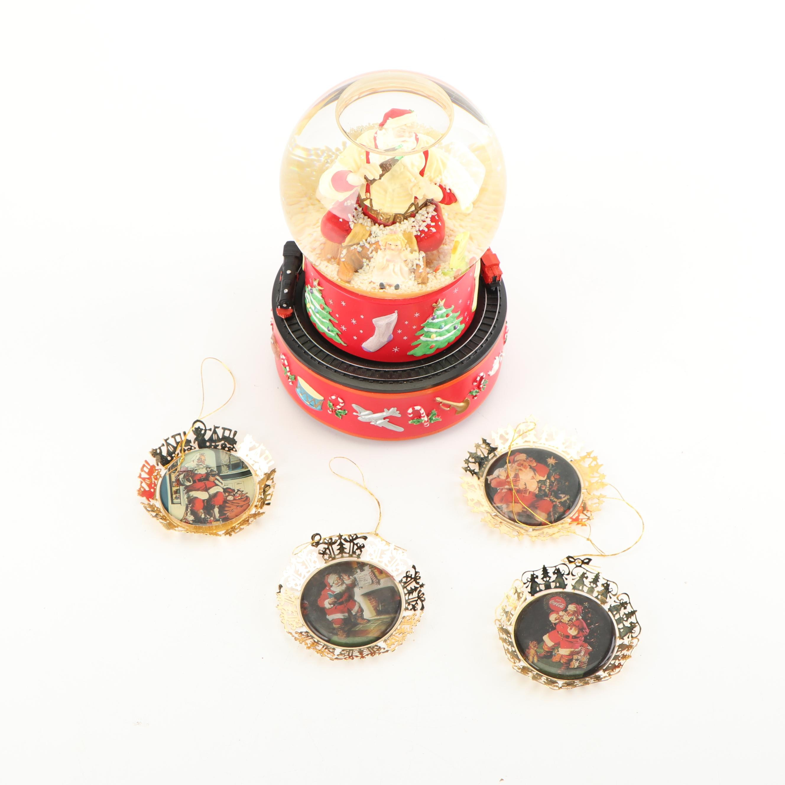 Vintage Coca-Cola Christmas Ornaments including Santa Musical Snow Globe