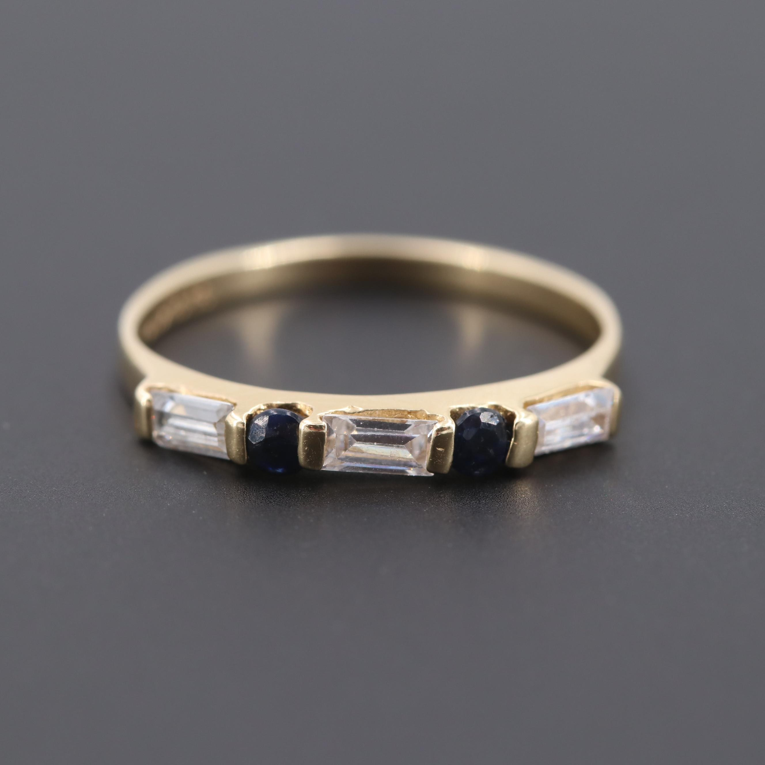 14K Yellow Gold Blue Sapphire and Cubic Zirconia Ring