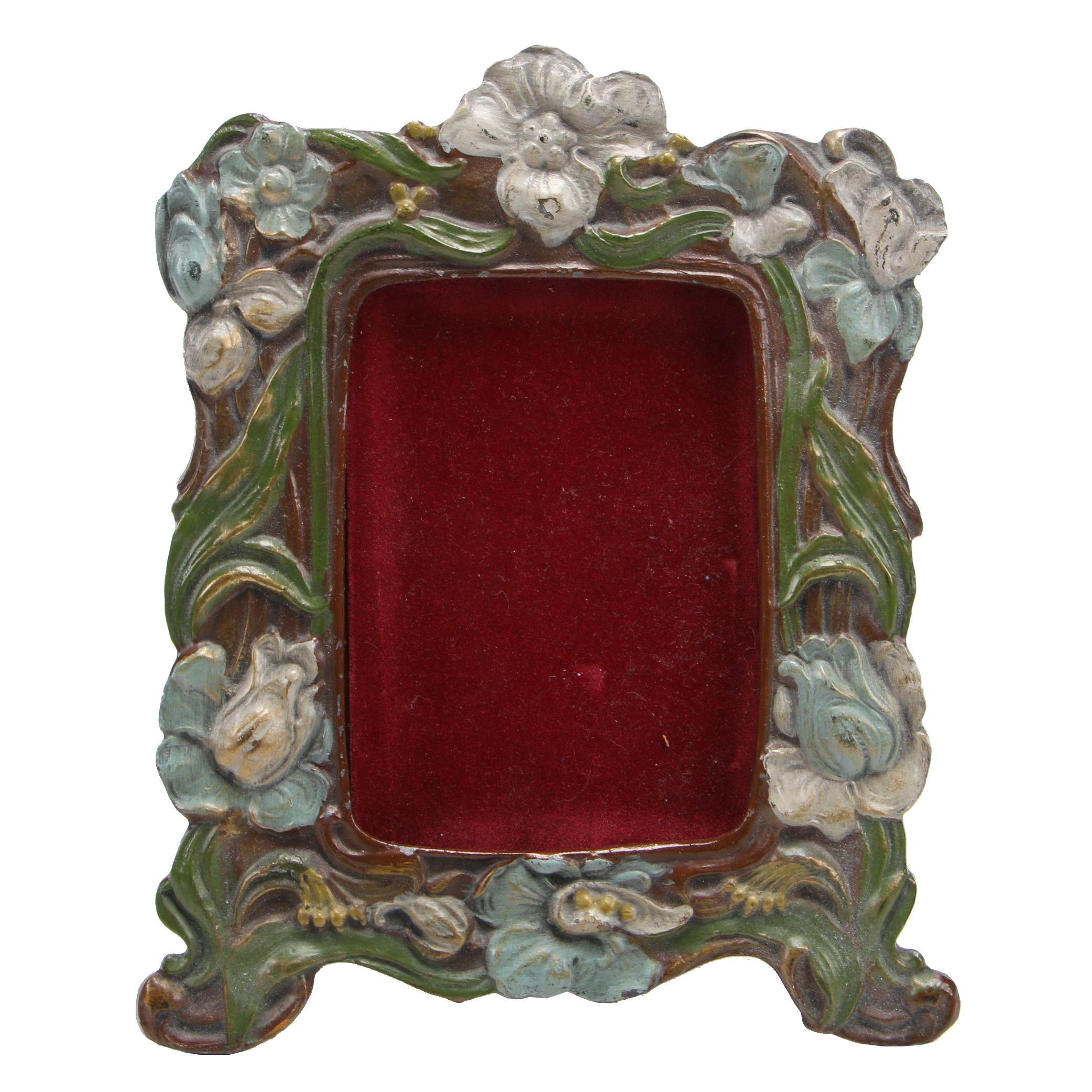 Art Nouveau Polychrome Cast Metal Table Top Frame, 20th Century