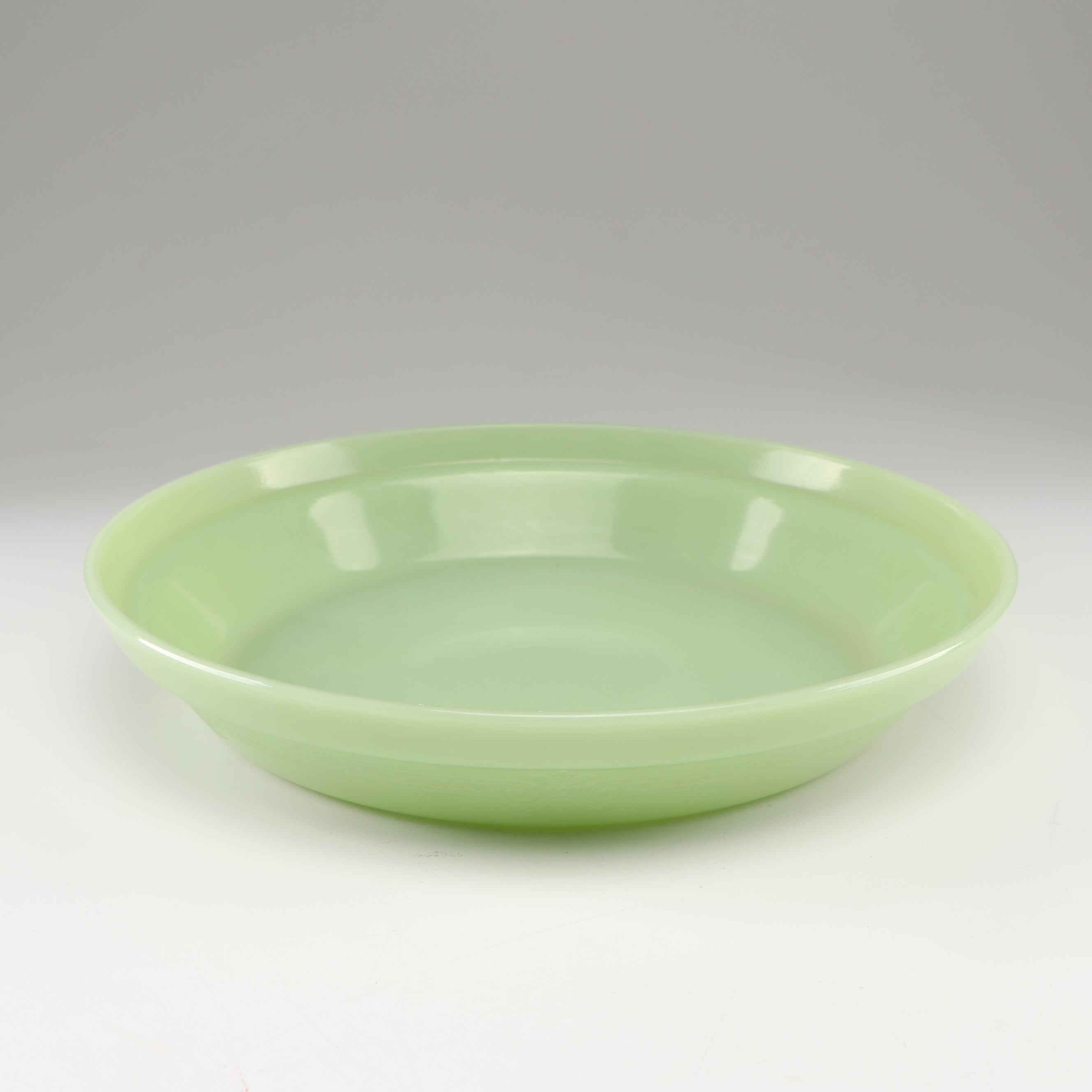 "Anchor Hocking ""Jade-ite"" Glass ""Philbe"" Pie Plate, circa 1940"