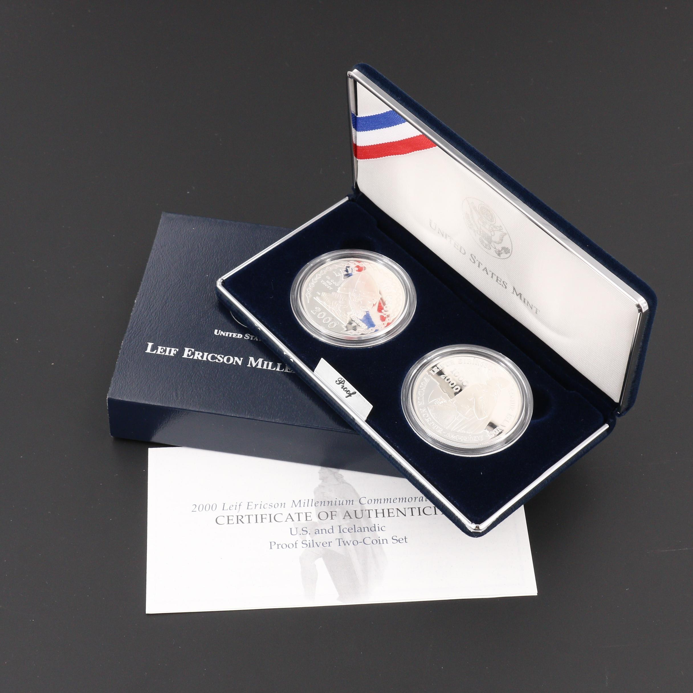 A 2000 Leif Ericson Silver Proof Two-Coin Commemorative Set