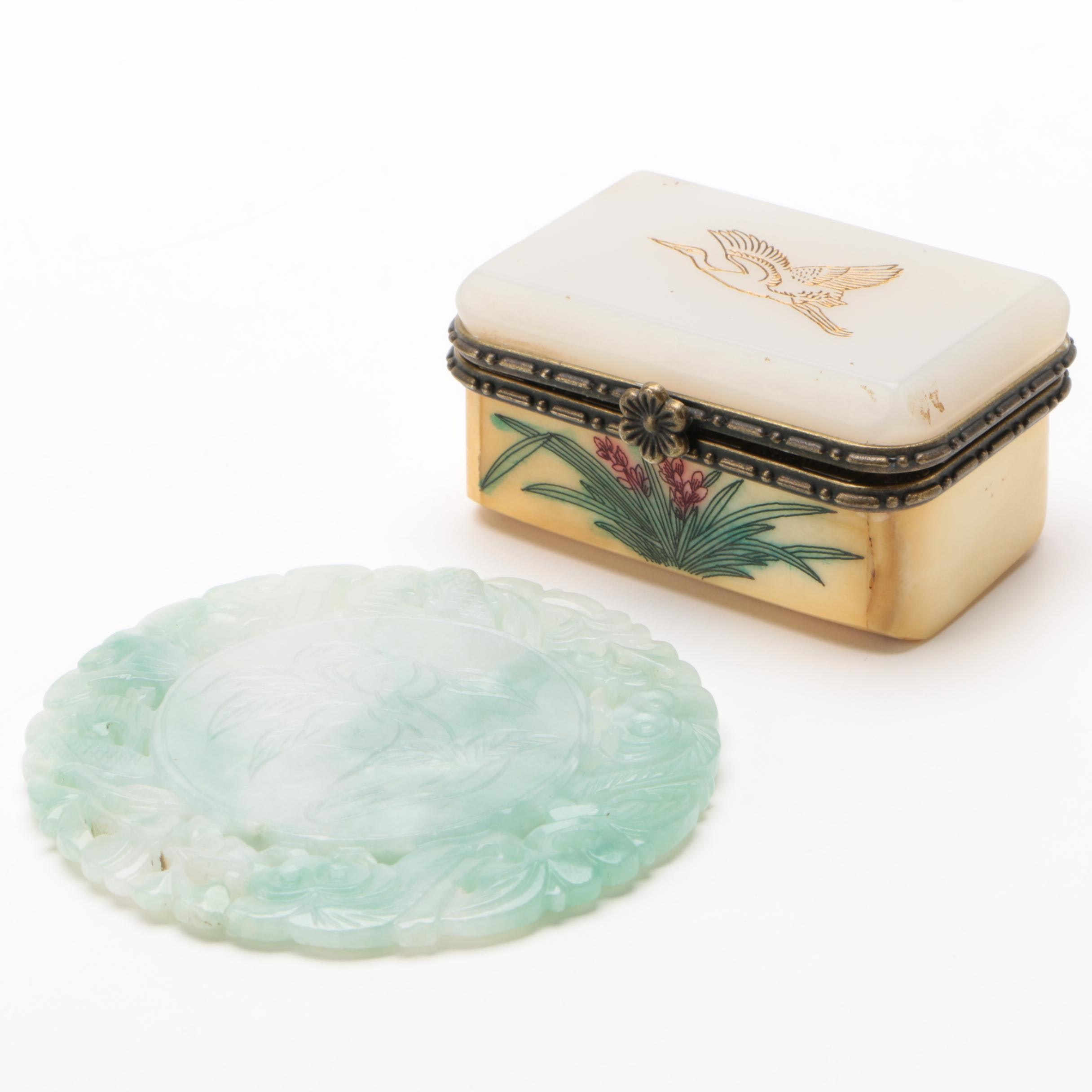 Chinese Carved Jadeite Medallion with Bone and Glass Box