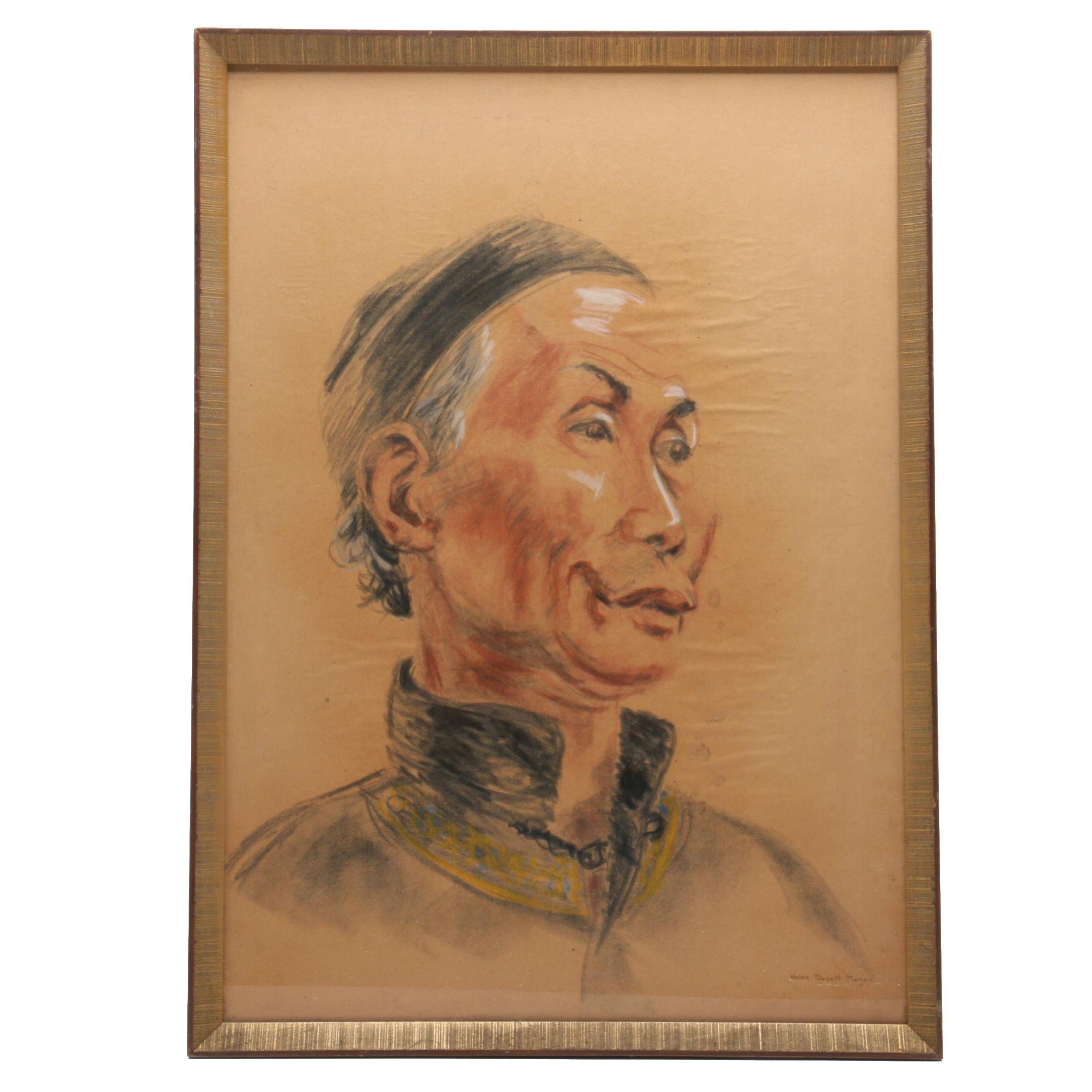 Helen Bogert Morgan Pastel Portrait Drawing