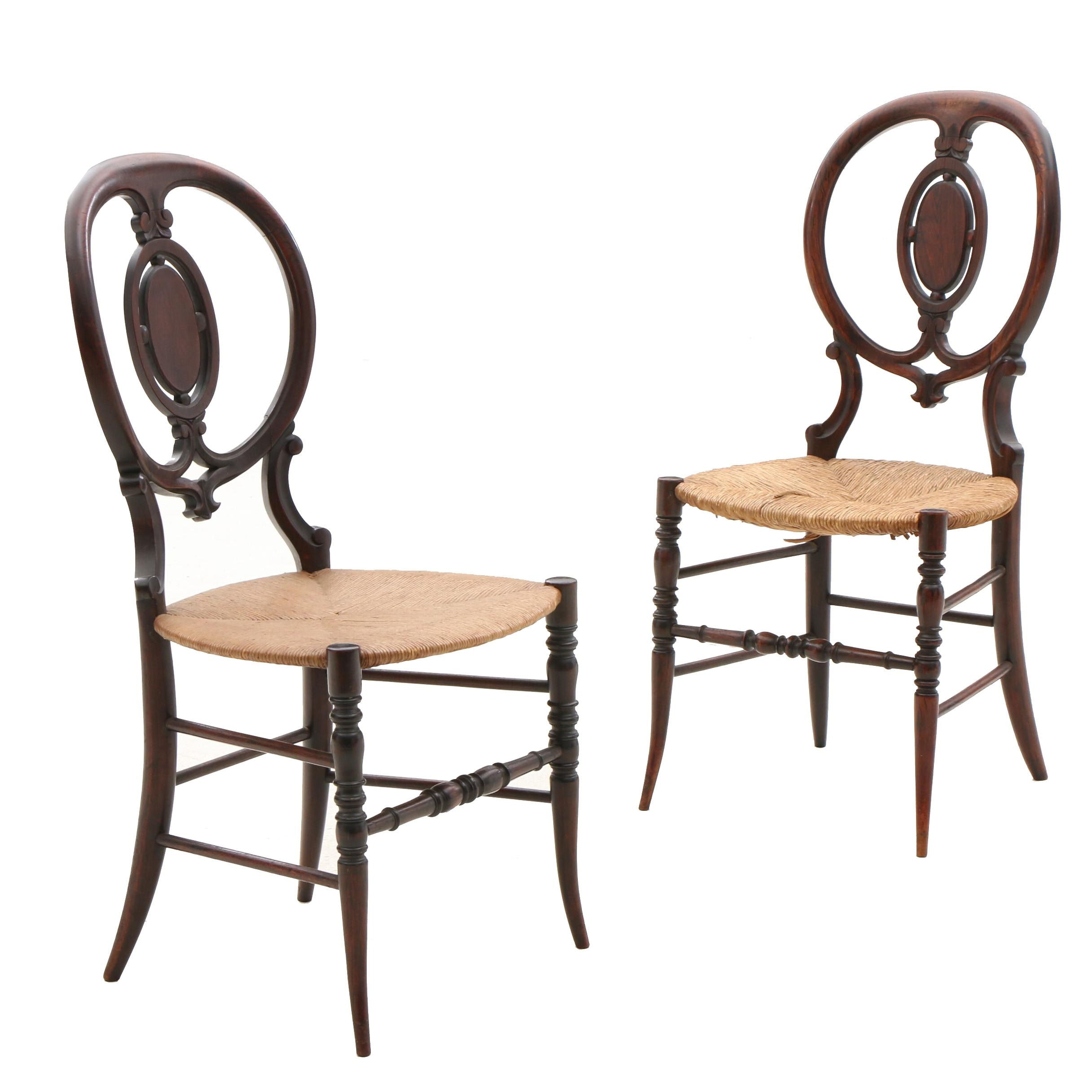 Two Victorian Rush Seat Side Chairs