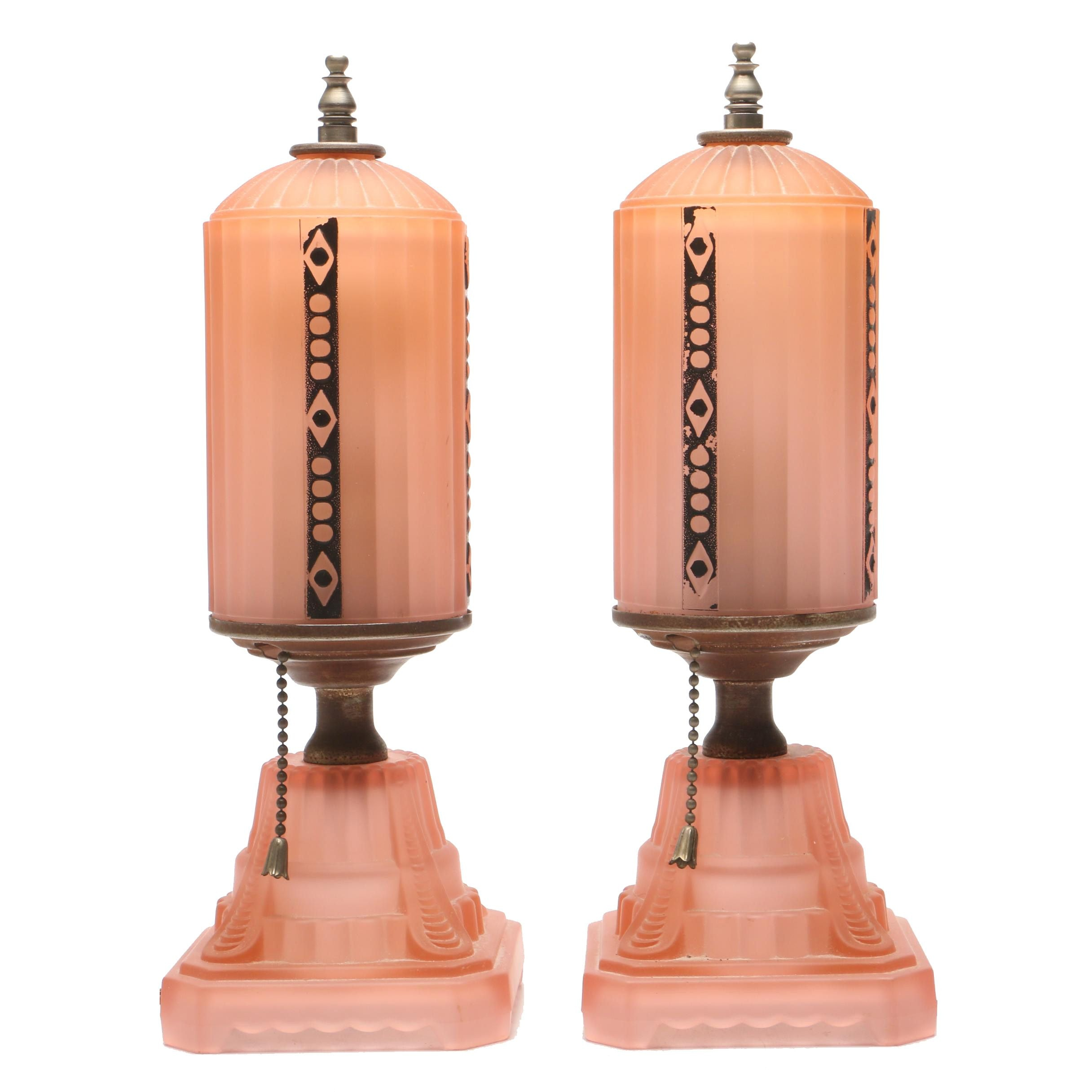 Art Deco Pink Satin Glass Boudoir Lamps, Early 20th Century
